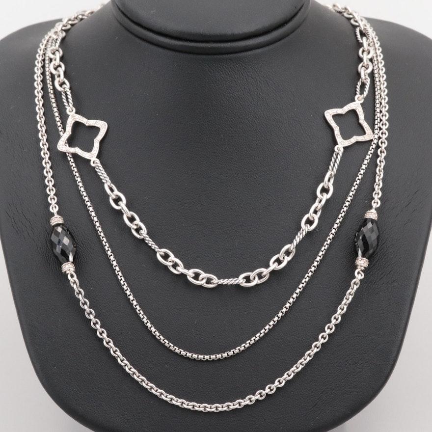 14af4f7a7bb9c David Yurman Sterling Black Onyx and Diamond Multi - Strand ...
