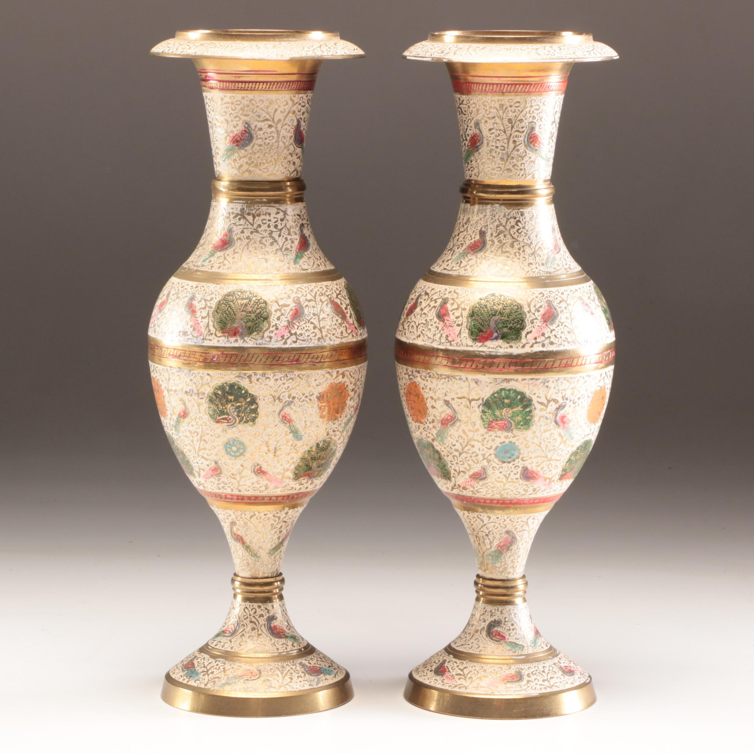 Hand-Painted Enamel and Brass Vases, Mid to Late 20th Century
