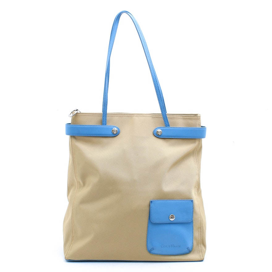 Cole Haan Beige Nylon and Blue Leather Tote Bag