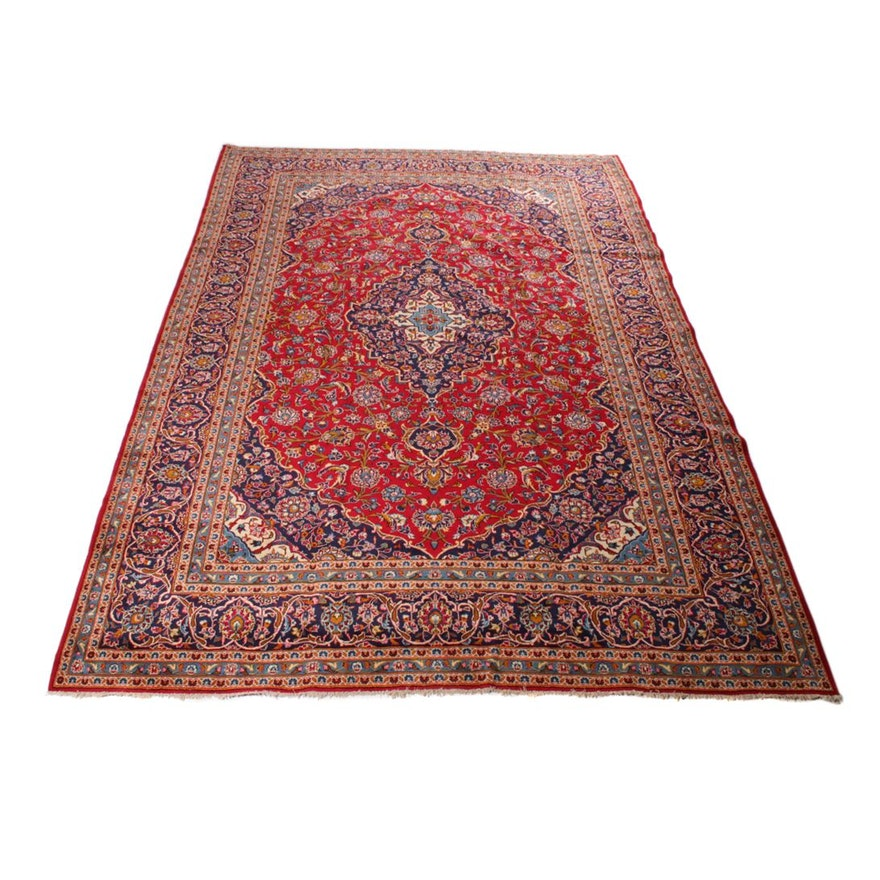 Persian Hand Knotted Kashan Silk And Wool Area Rug Ebth: Hand-Knotted Persian Ardekan Kashan Room-Size Rug