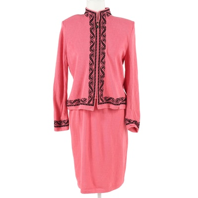 8dab74a7 St. John Collection Coral Pink Knit Skirt Suit with Black Scrolling Acanthus