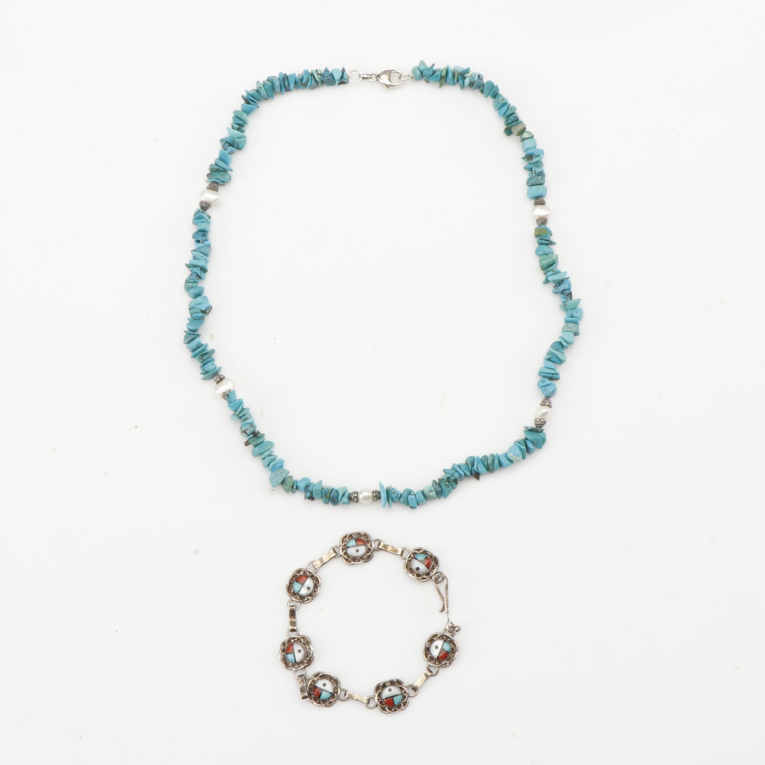 Sterling Silver Southwestern Style Jewelry with Turquoise, Cultured Pearl & More