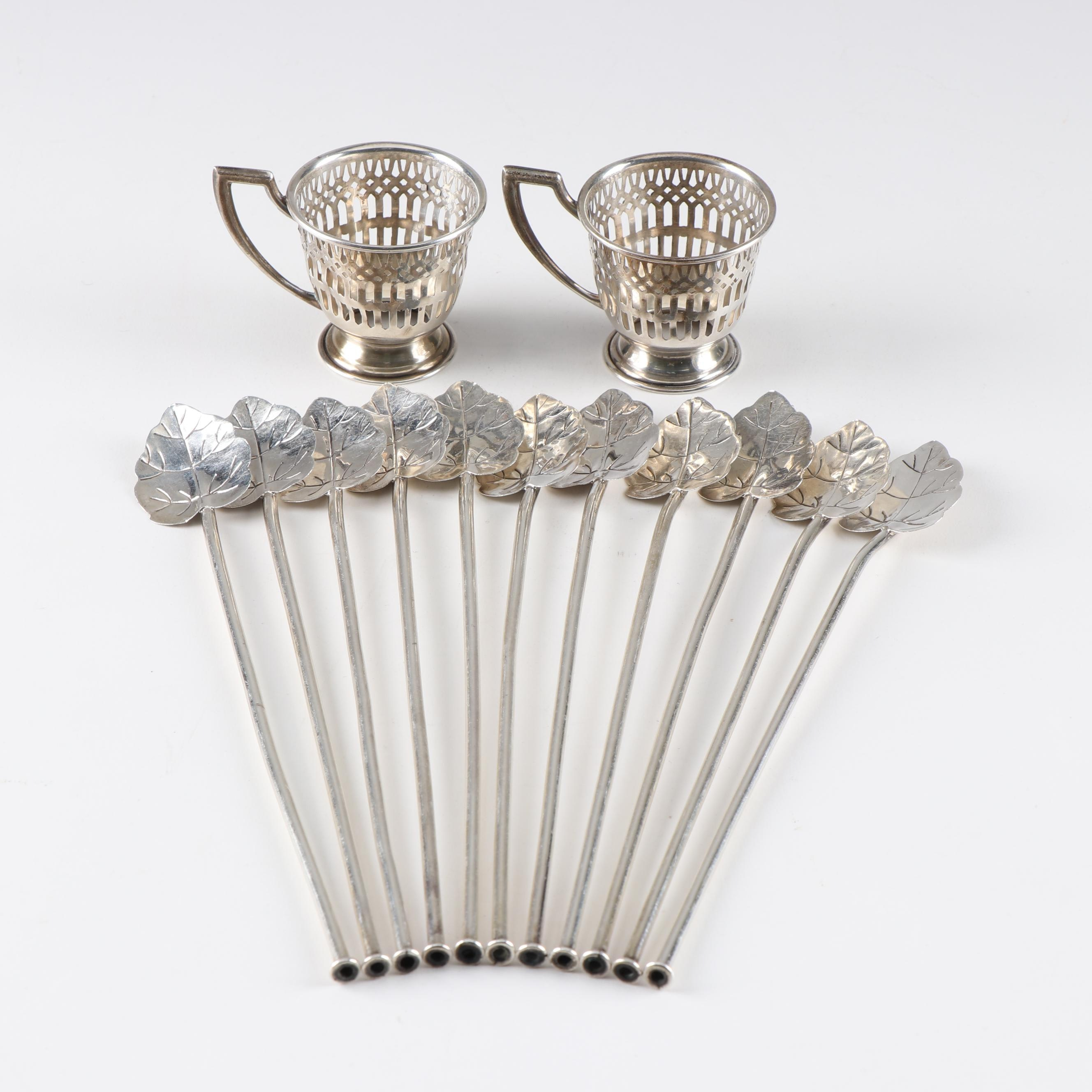 Sterling Silver Leaf Mint Julep Stirrer Straws and Demitasse Cup Holders