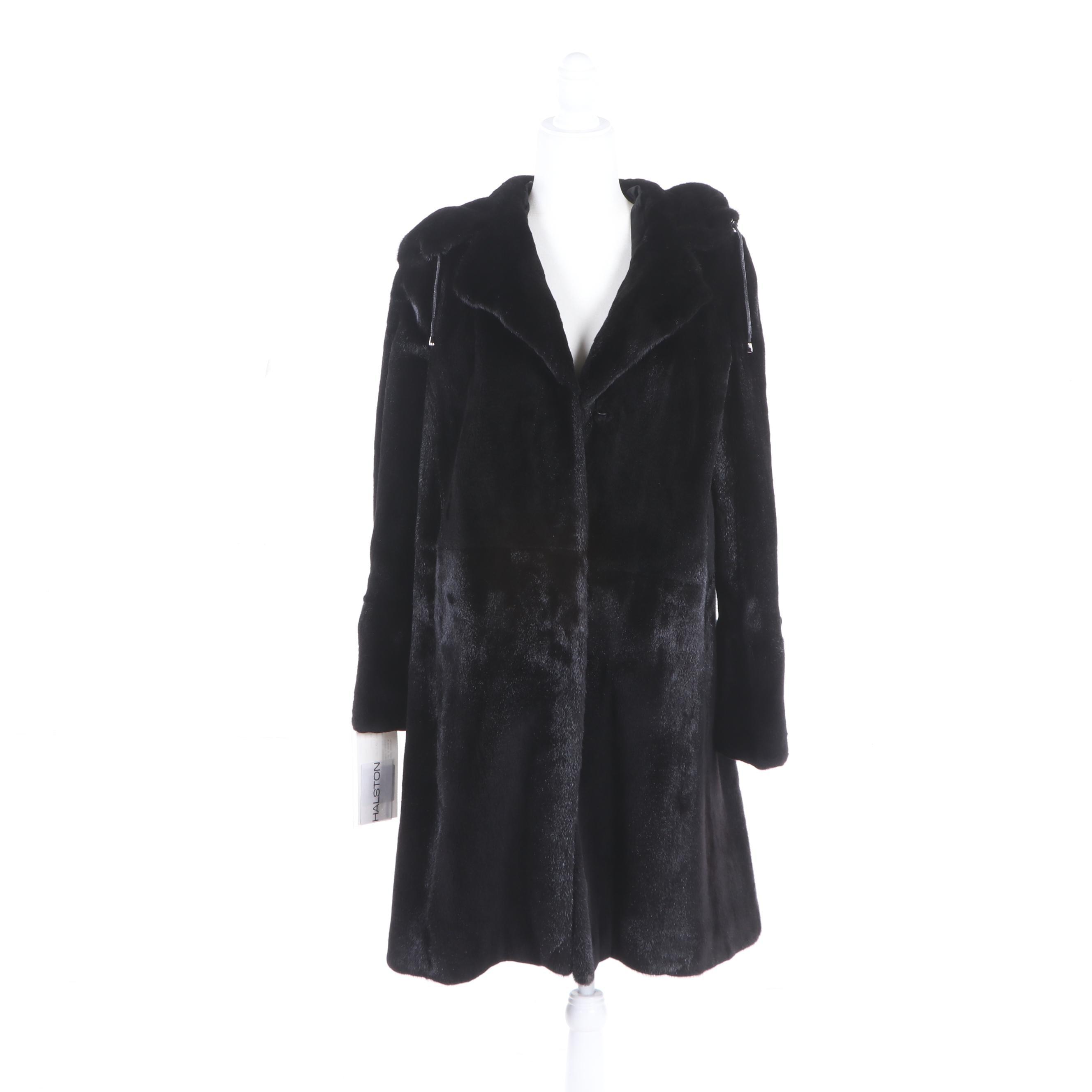 Women's Halston Semi-Sheared Mink Fur Stroller with Hood