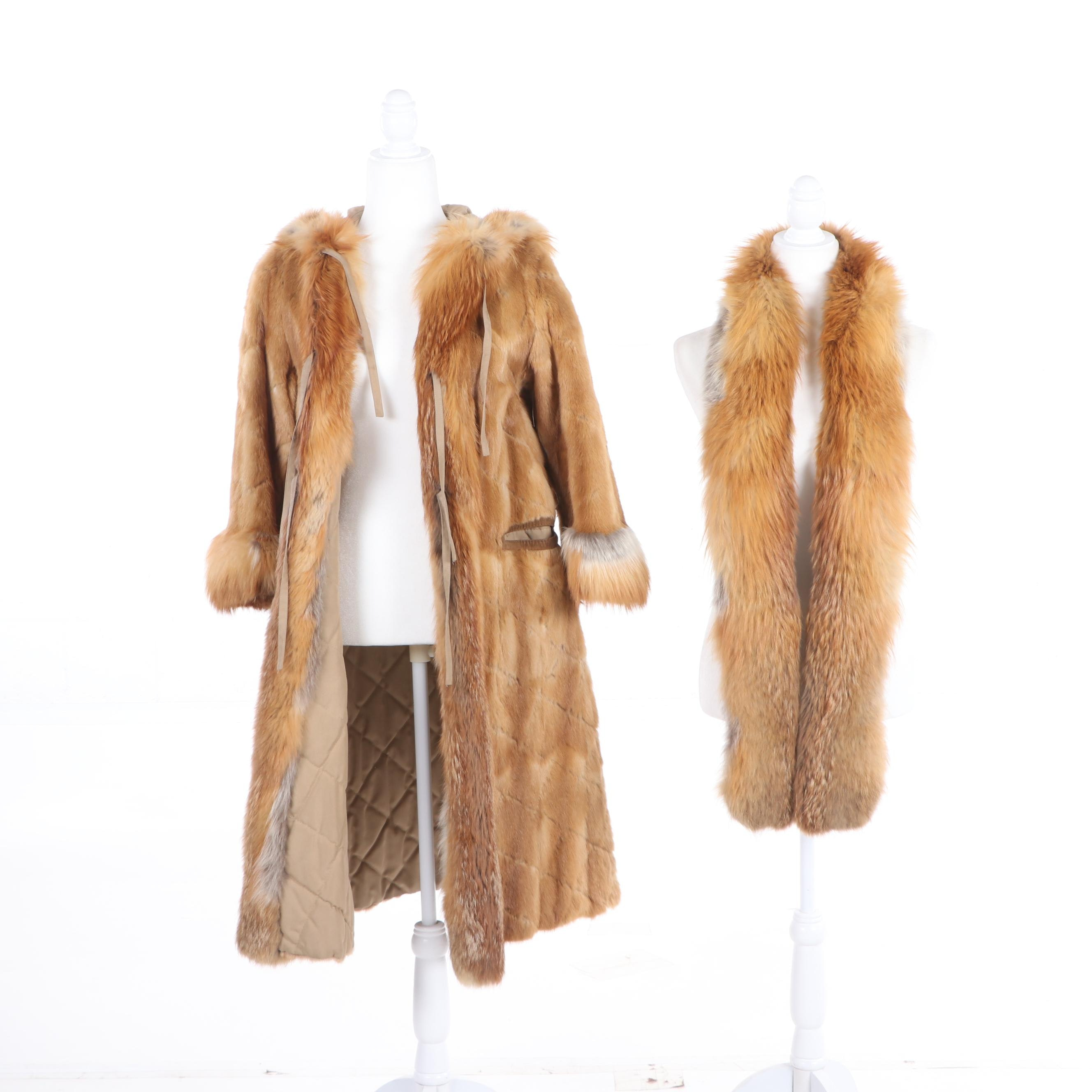 Diamond Cut Blonde Musquash Fur Coat with Red Fox Fur Trim and Fox Fur Wrap