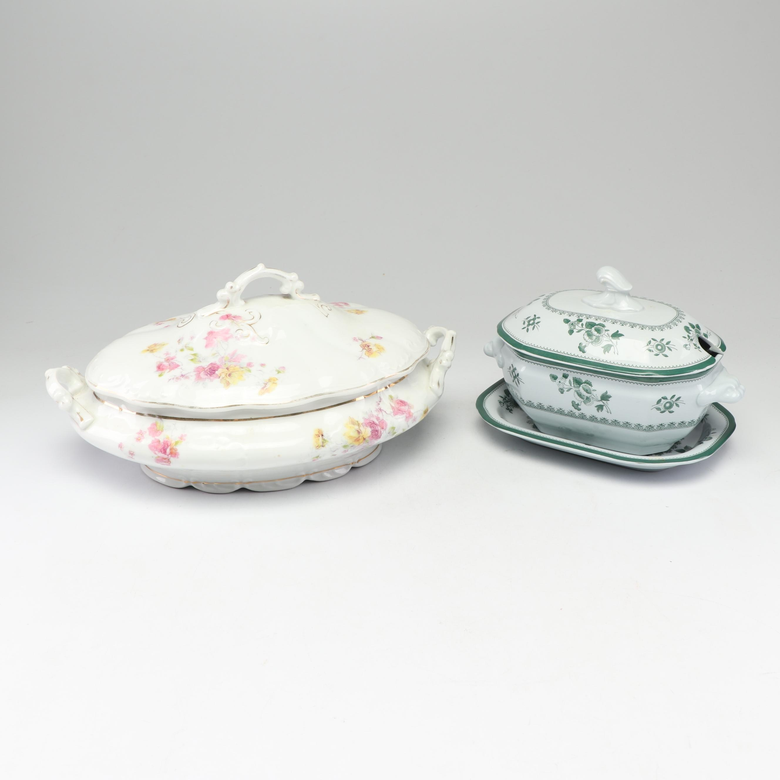 LS&S Carlsbad Porcelain Tureen and Spode Gravy Boat