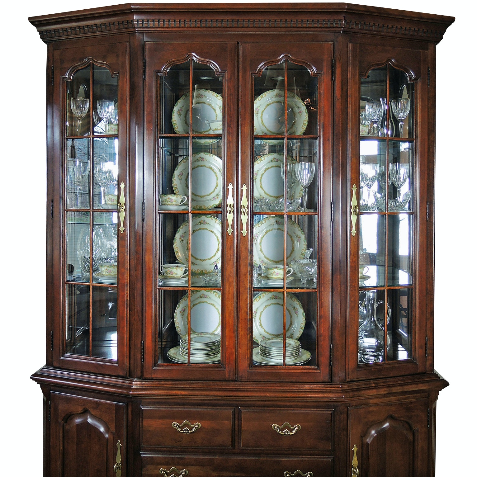 Thomasville Federal Style Fruitwood China Cabinet, Contemporary