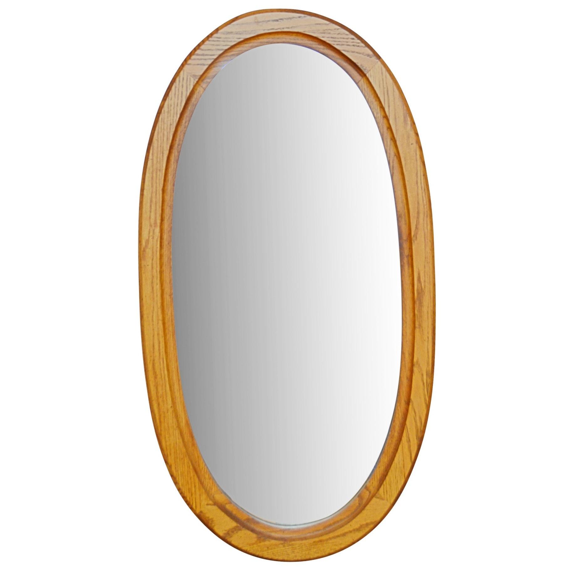 Oak Framed Oval Wall Mirror