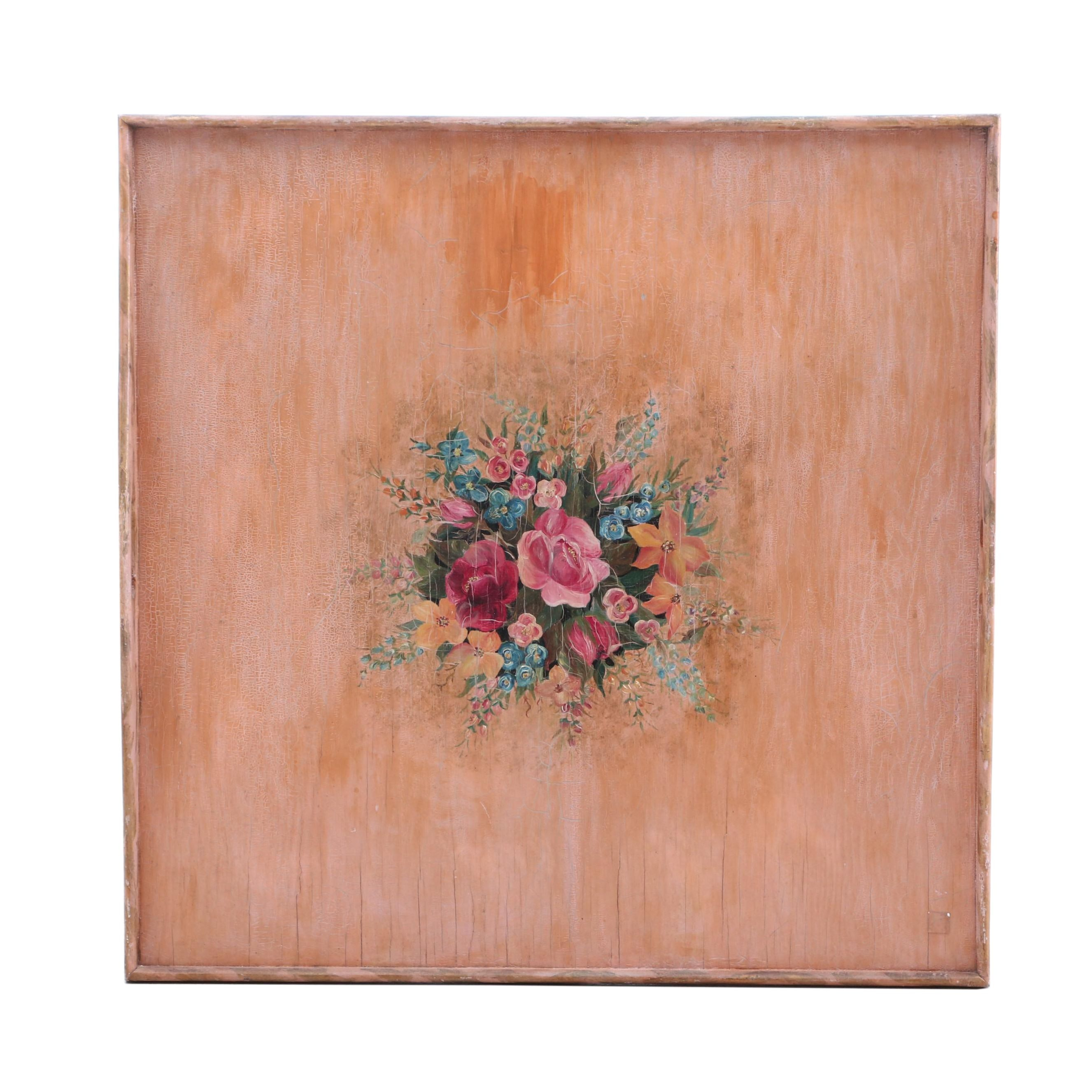 Late Victorian Painted Tray Wall Art