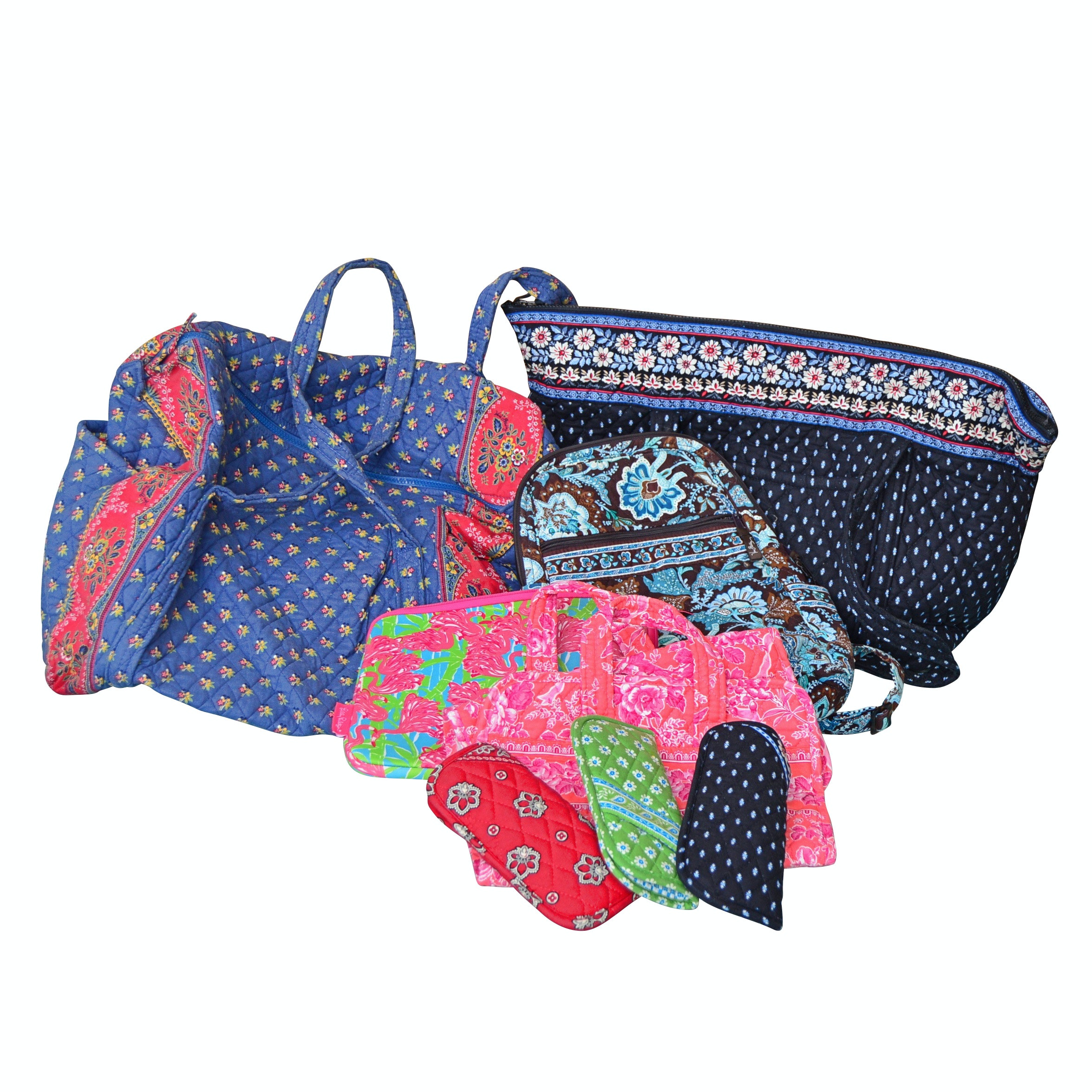 Vera Bradley Floral Cotton Totes, Backpack, Makeup Bags and Eyeglass Cases