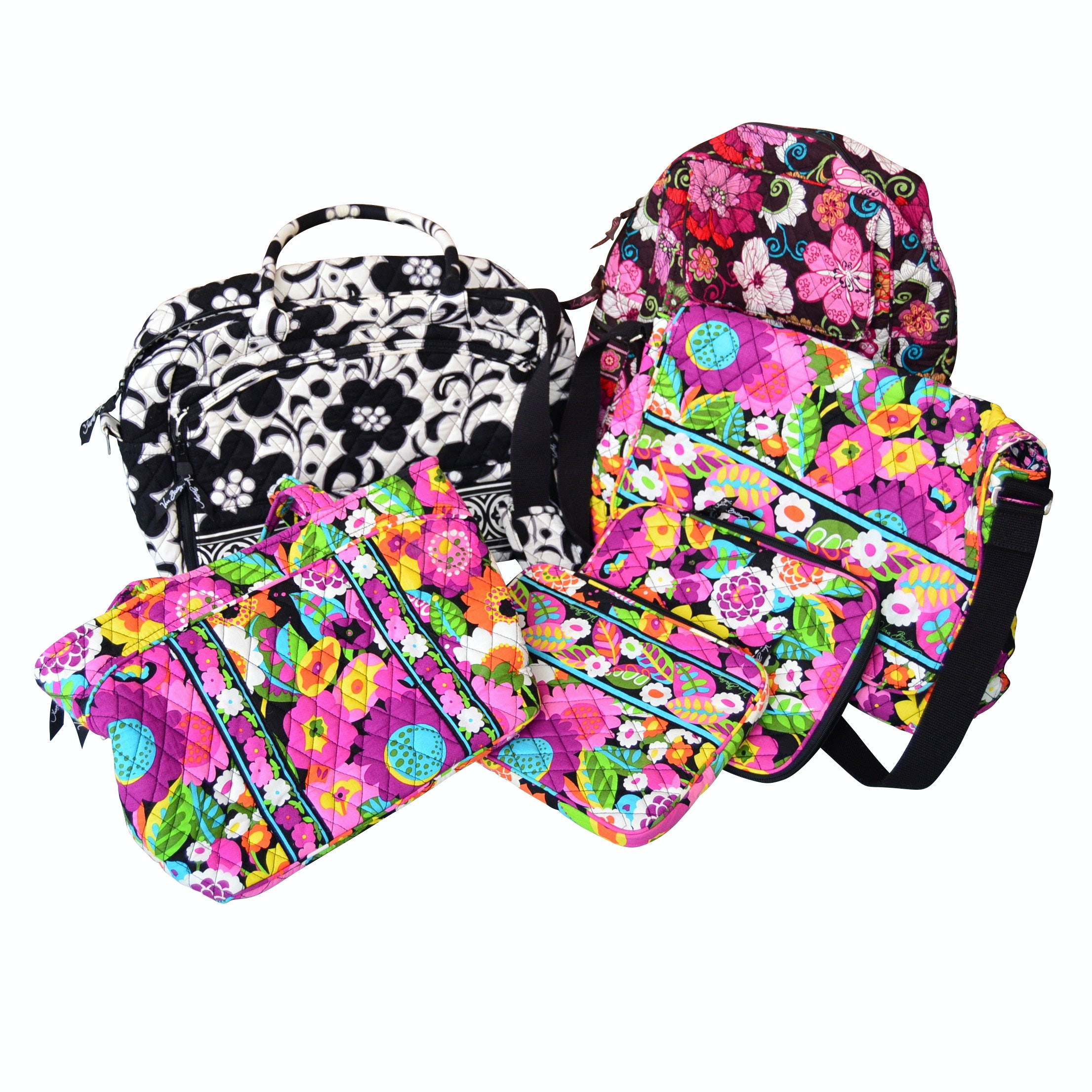 Vera Bradley Cotton Floral Totes, Makeup Bags, Backpack and Computer Bag
