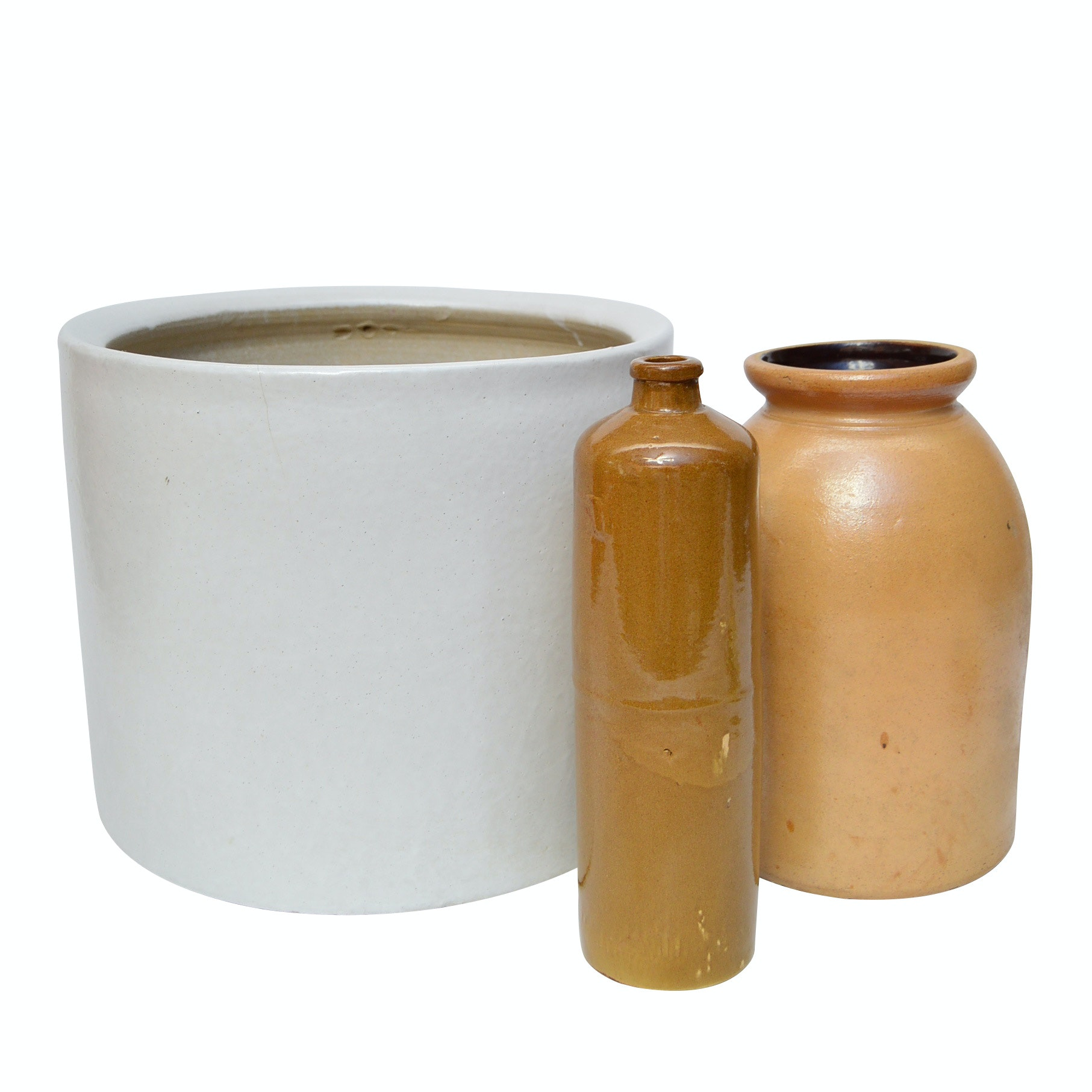 Stoneware Crock with Fermentation Jar and Stoneware Mineral Water Bottle