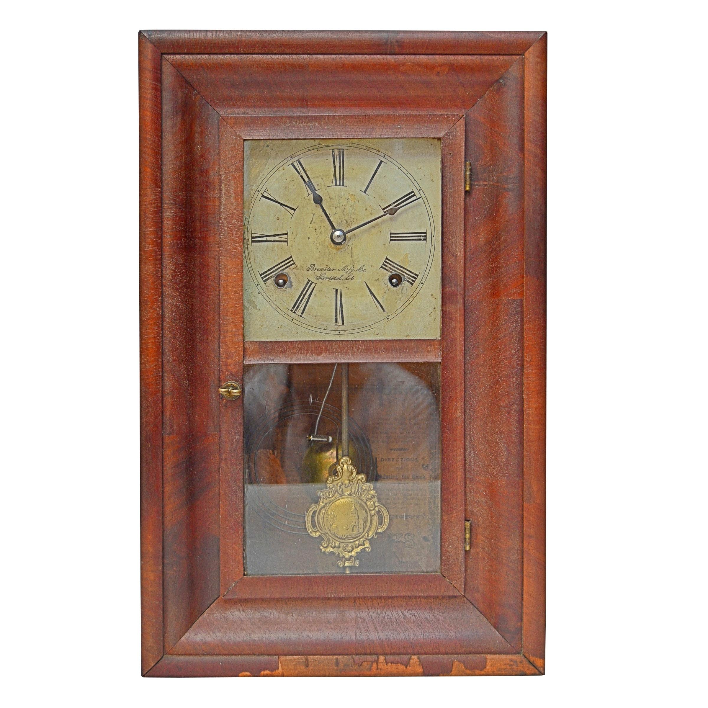 Brewster Mahogany Mantel Clock, Early to Mid 19th Century