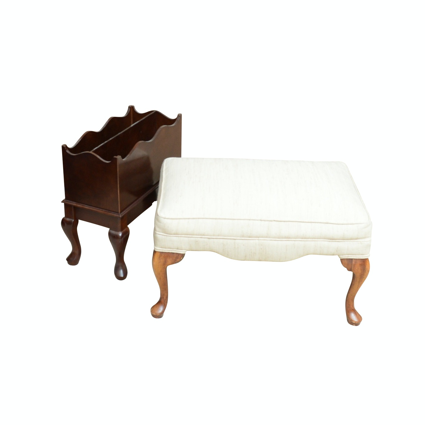 The Bombay Company Magazine Rack and Upholstered Footstool