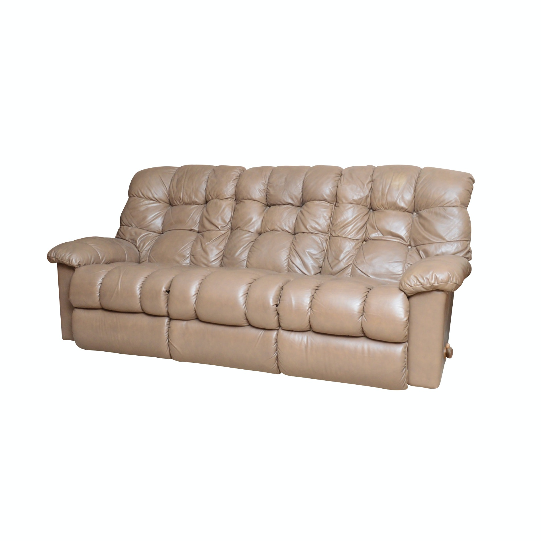 La-Z-Boy Tufted Back Leather Sofa with Dual End Recliners