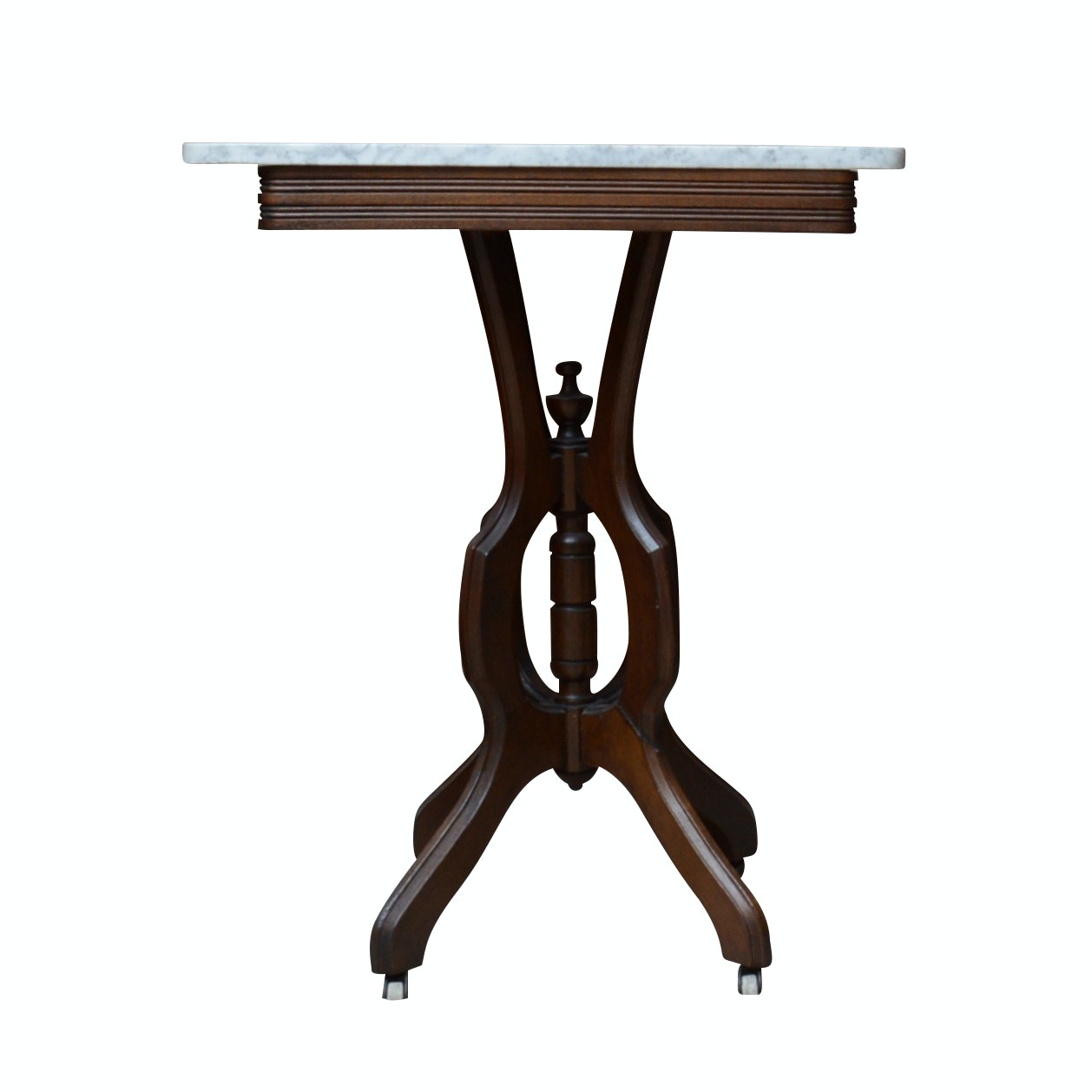Eastlake Style Victorian Walnut Table with Marble Top, Circa 1890