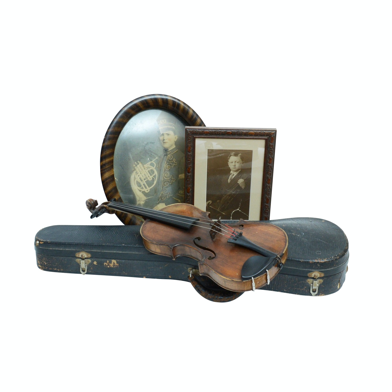 Violin with Early Photo of Original Owner