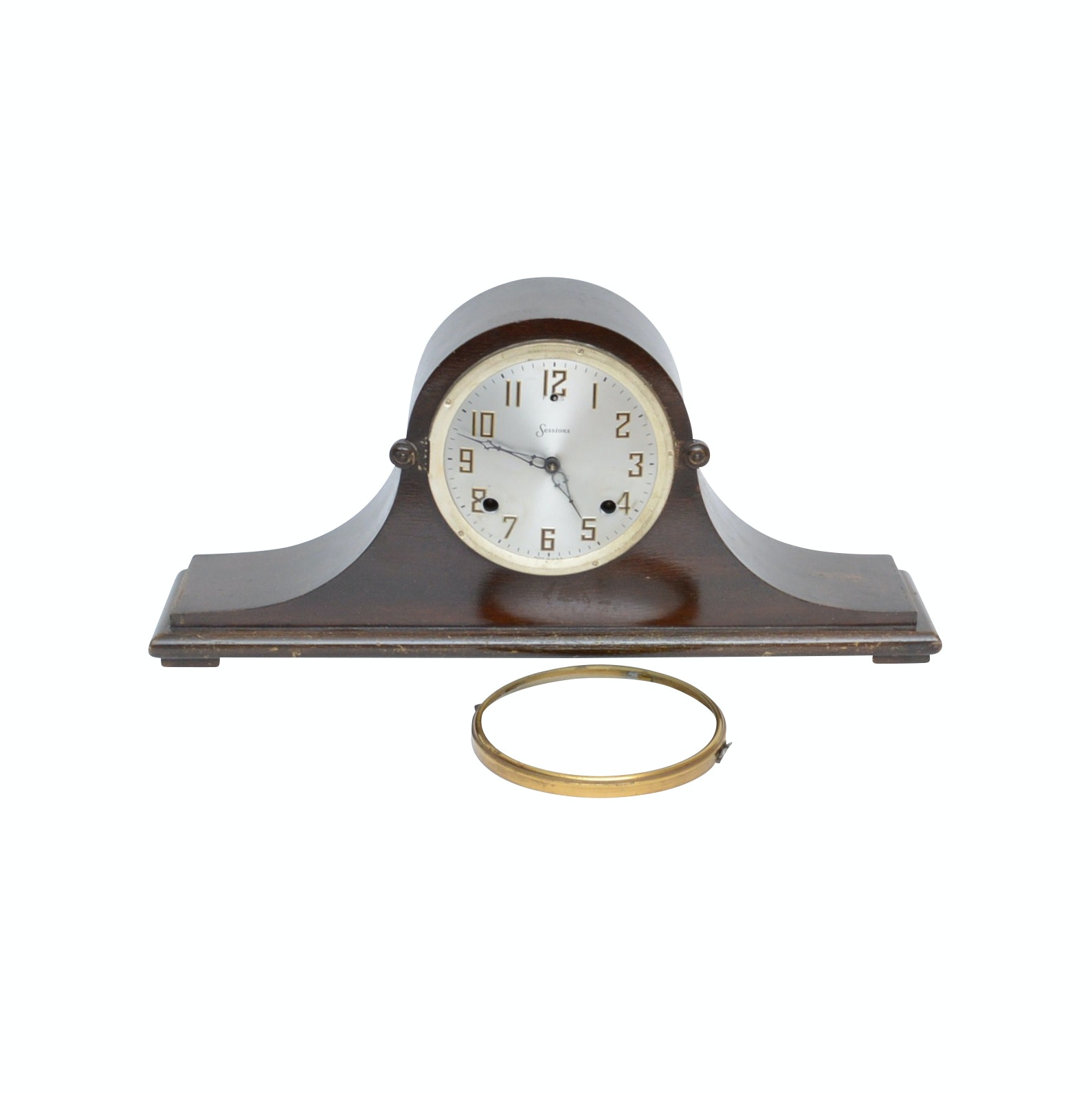 "Sessions ""Beverly"" Eight Day Half Hour Strike Tambour Mantel Clock, Mid-Century"