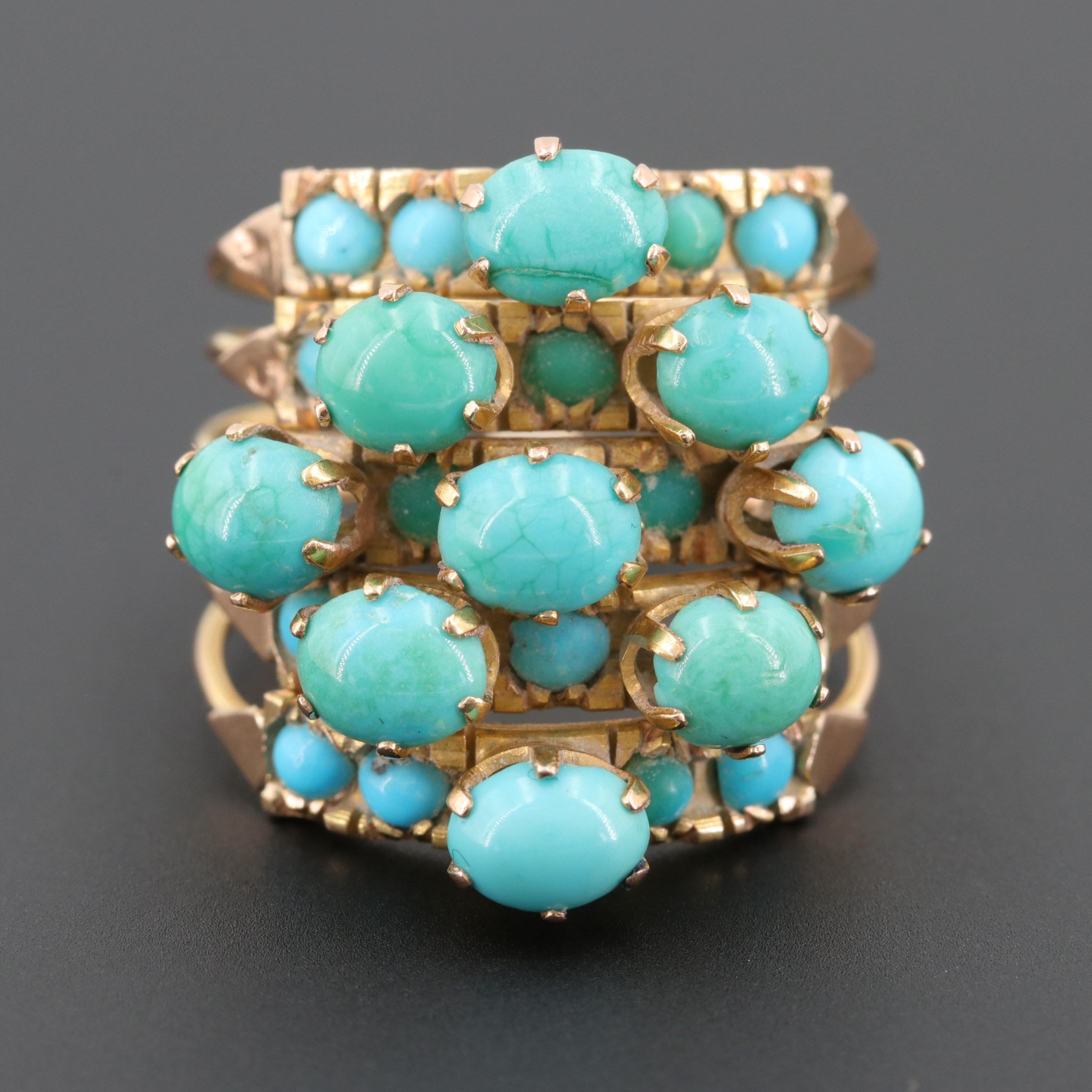 Vintage Egyptian 14K Yellow Gold Turquoise Harem Ring