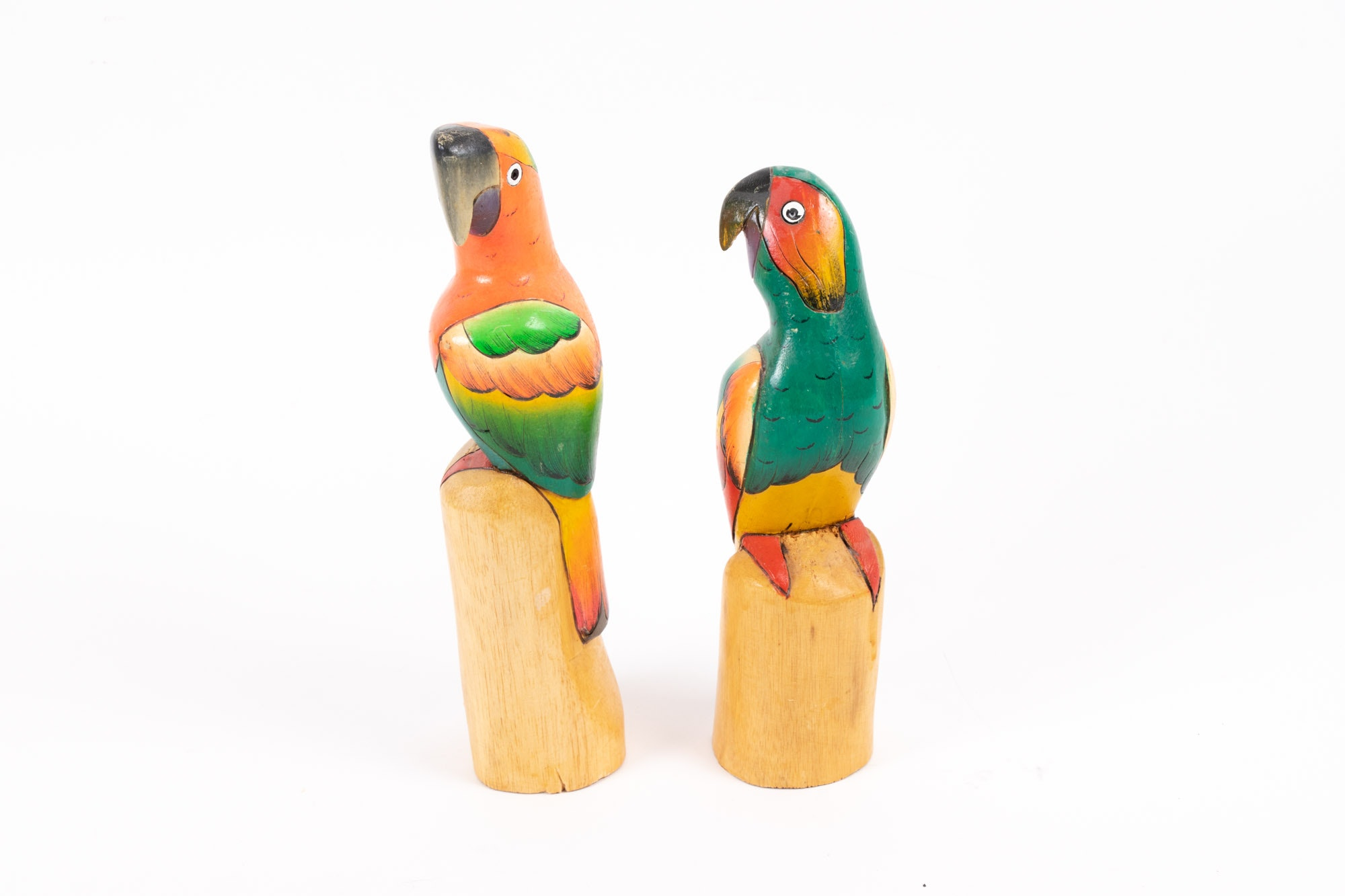 Vintage Hand-Carved and Painted Parrots