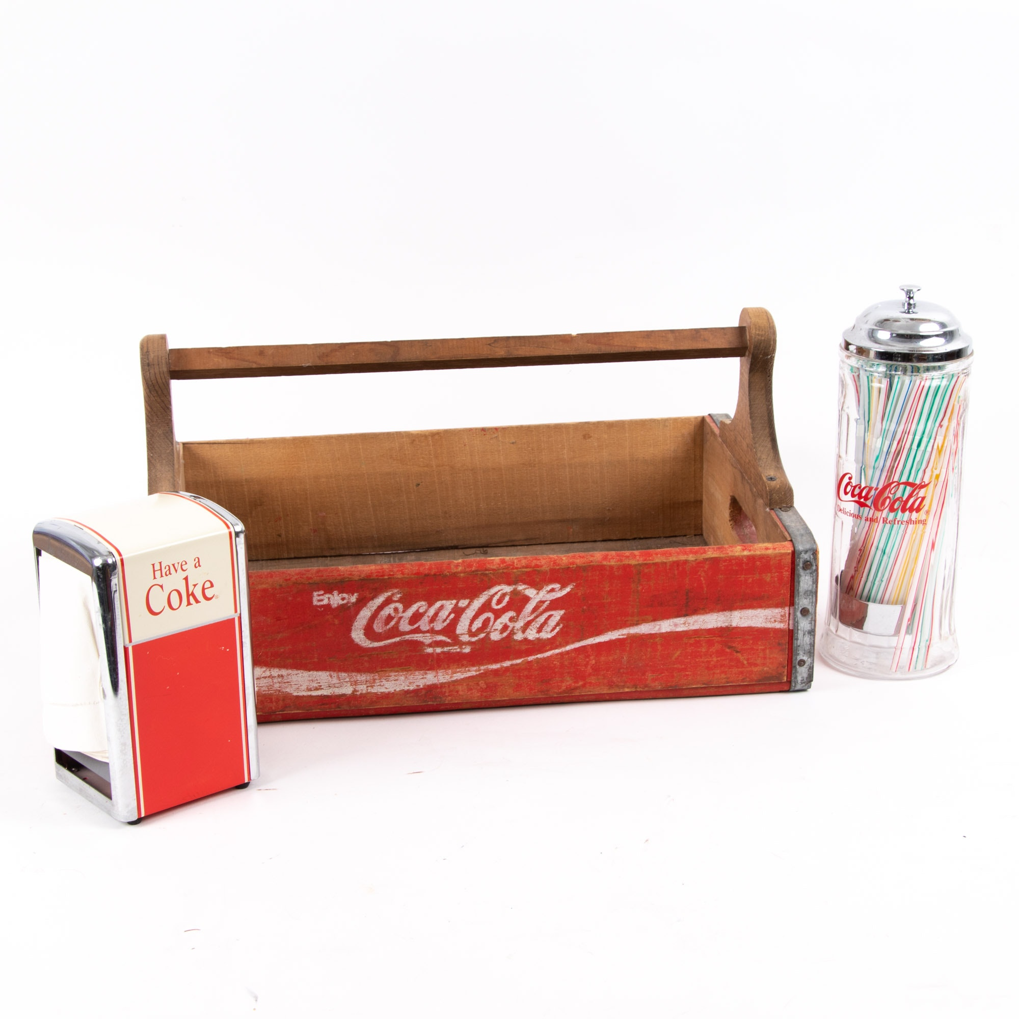 Vintage Coca-Cola Crate with Napkin and Straw Dispenser