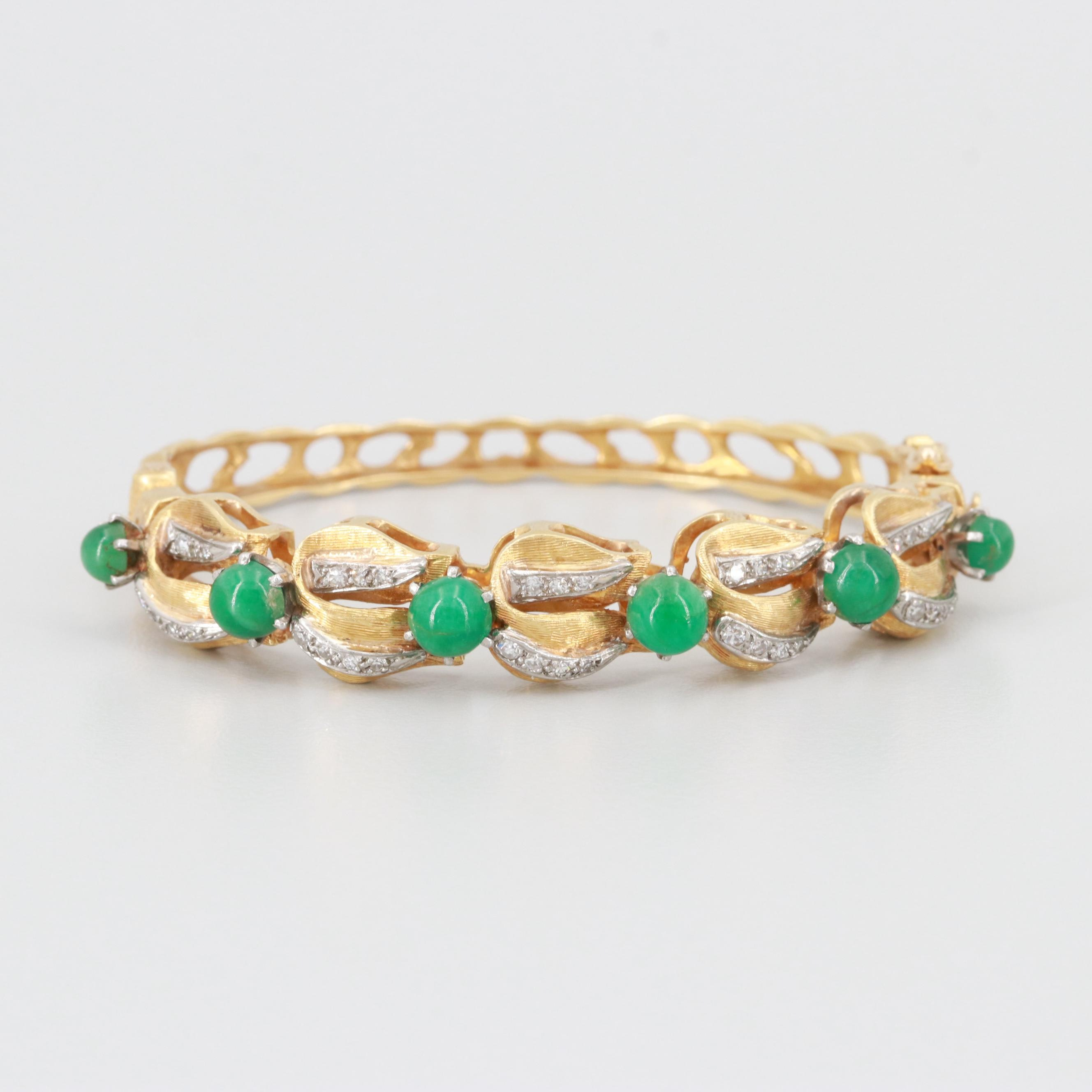 Van Gogh 18K Yellow Gold Emerald and Diamond Bangle Bracelet with Brushed Finish
