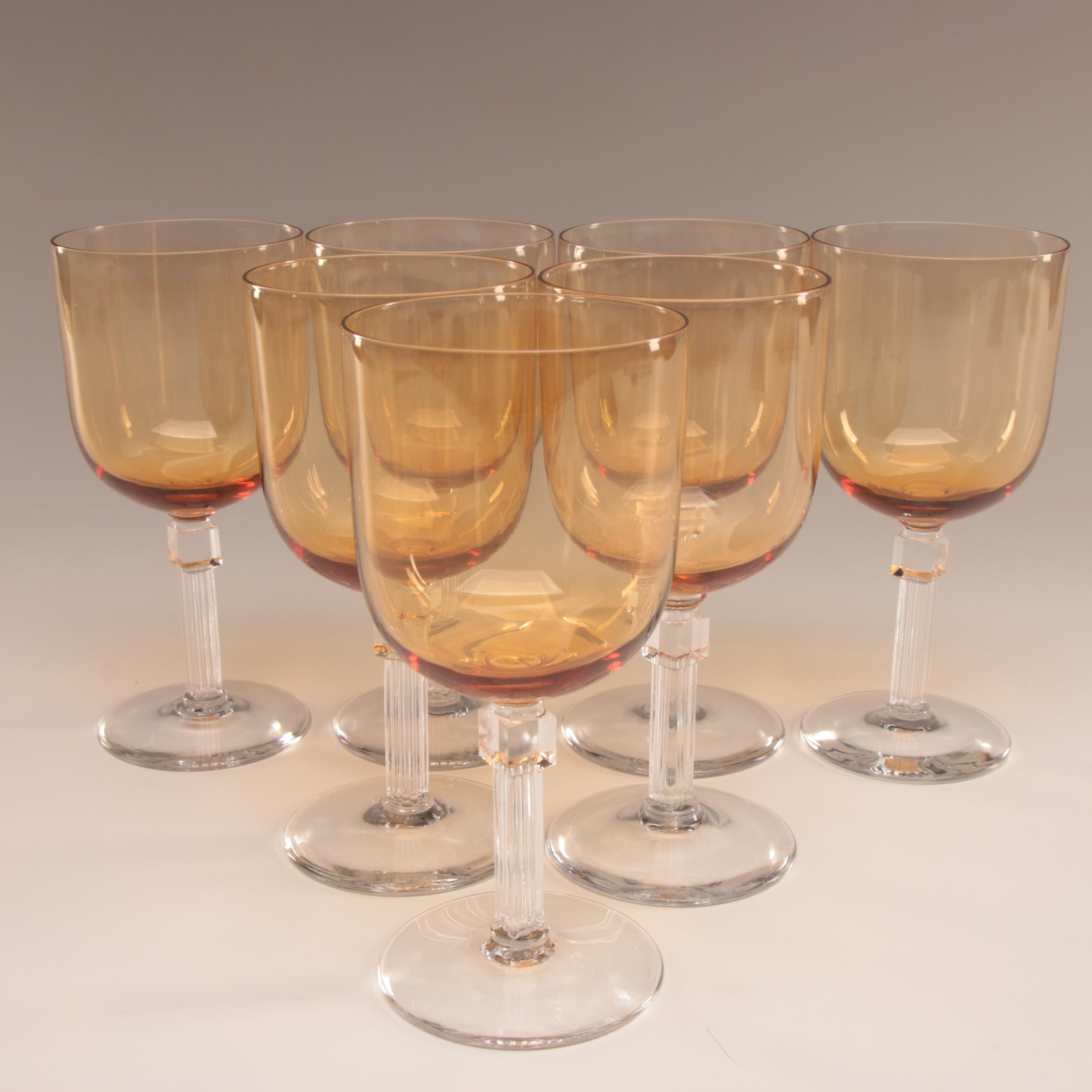 Amber and Clear Crystal Stemware