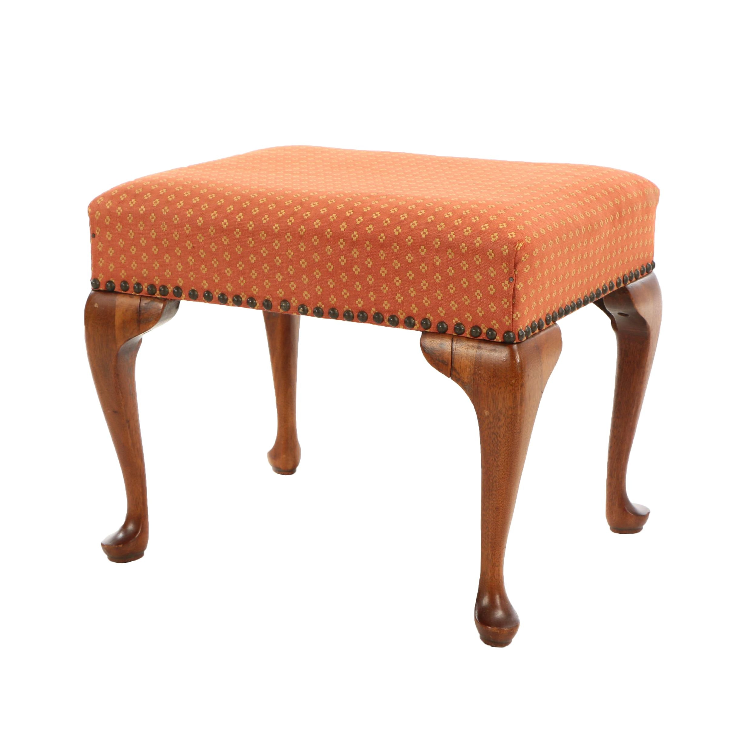 Queen Anne Style Walnut Footstool, Early 20th Century