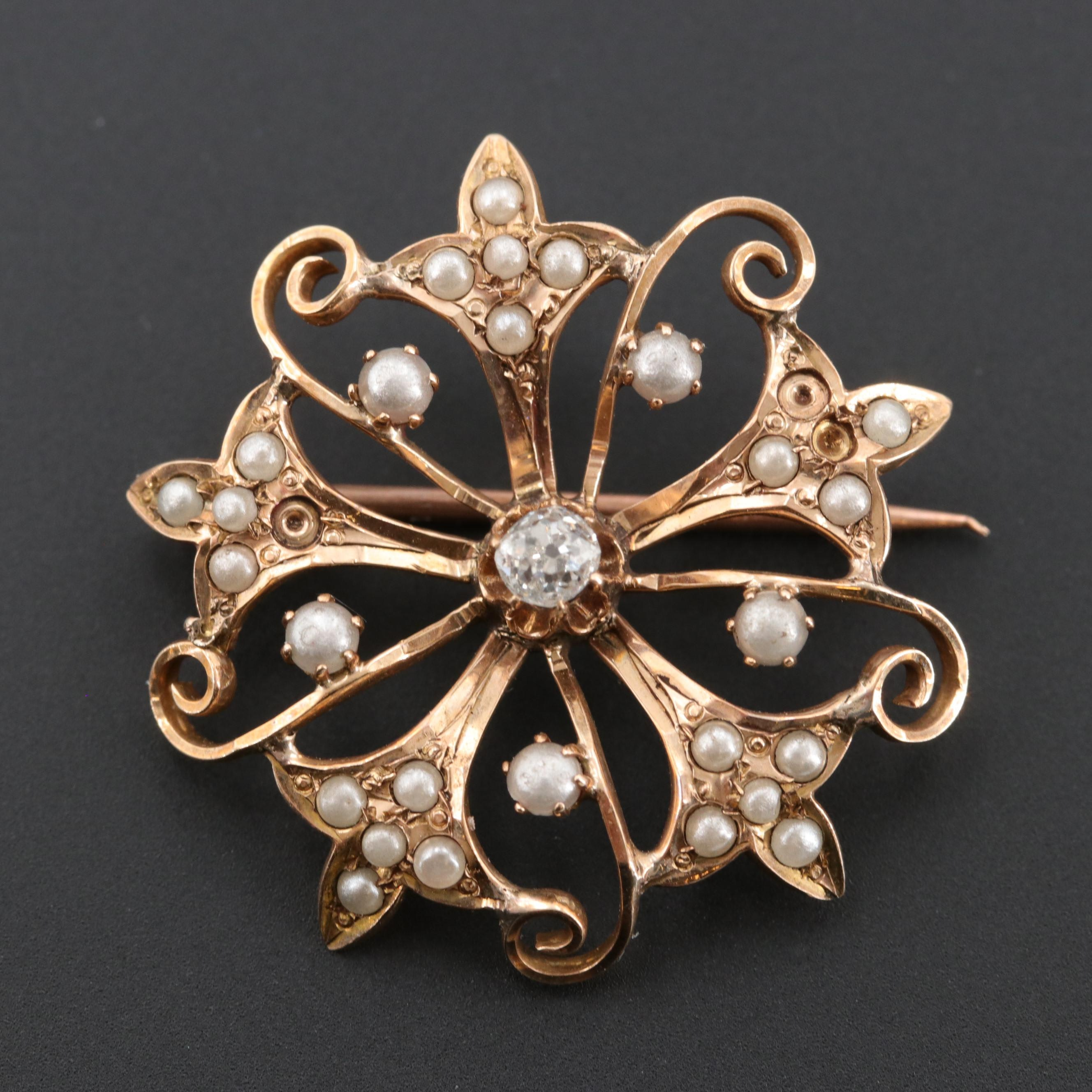 Early Victorian 10K Rose Gold Diamond and Imitation Pearl Brooch
