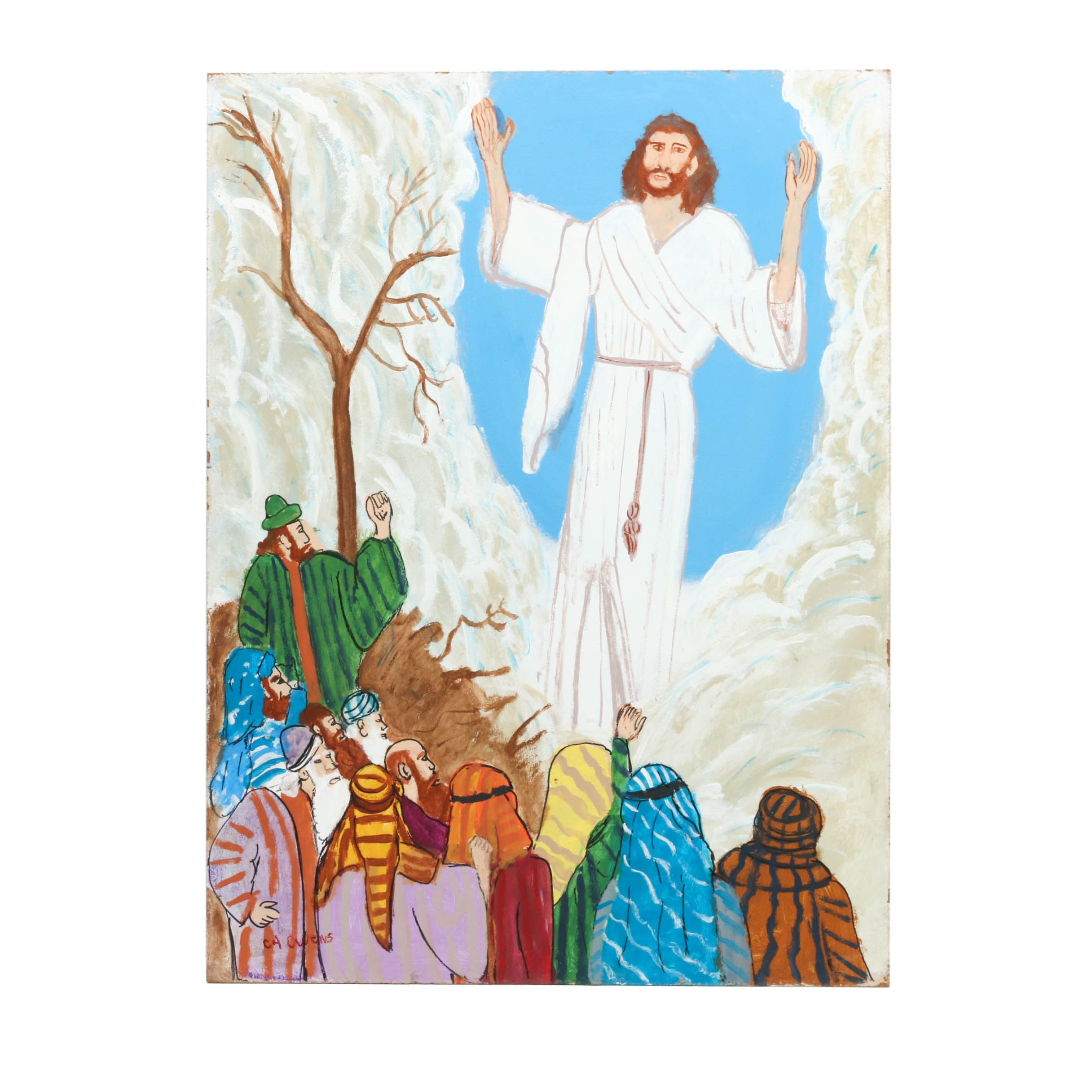 "Charles A. Owens Folk Art Acrylic Painting ""The Ascension"""