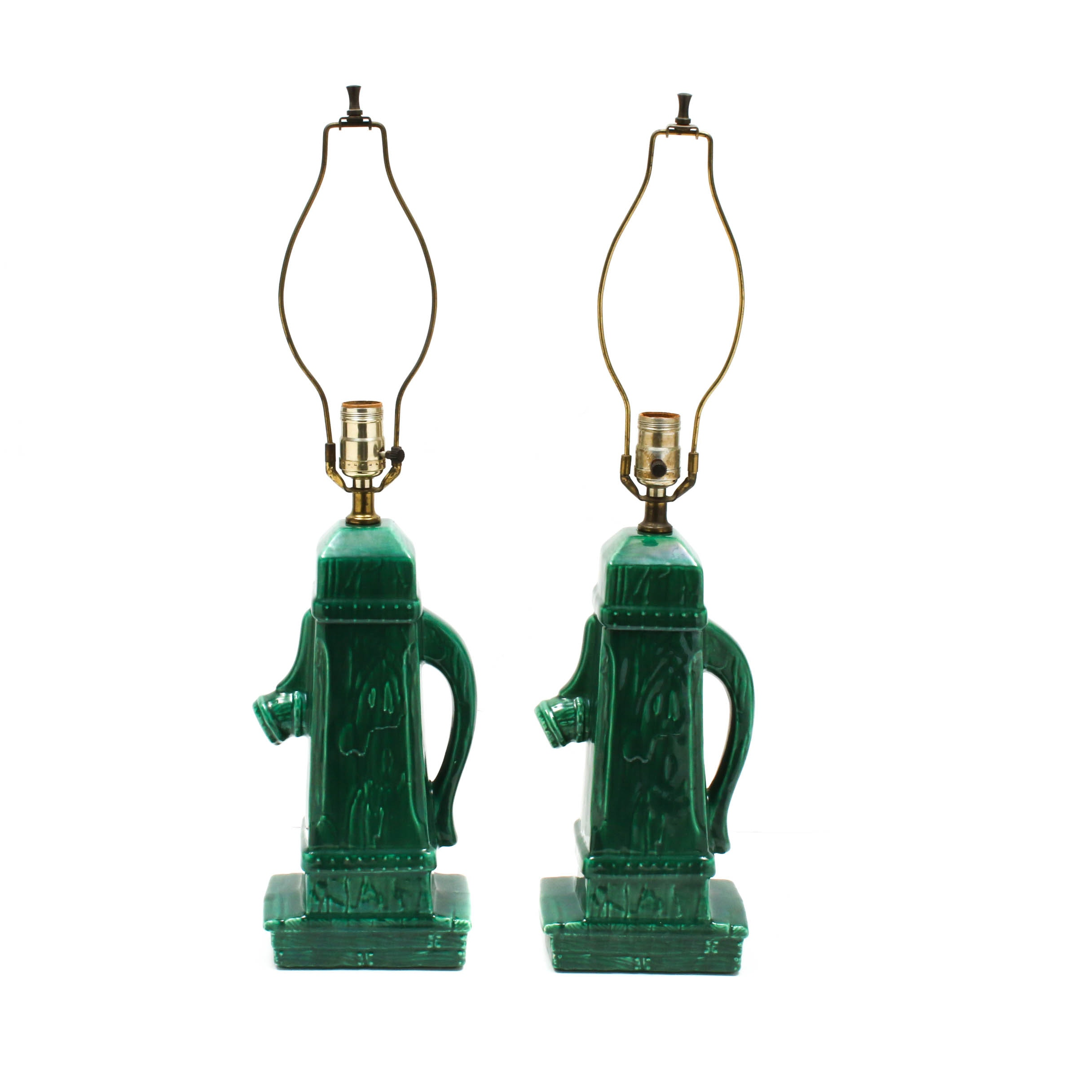Ceramic Well Pump Table Lamps, Mid-Century