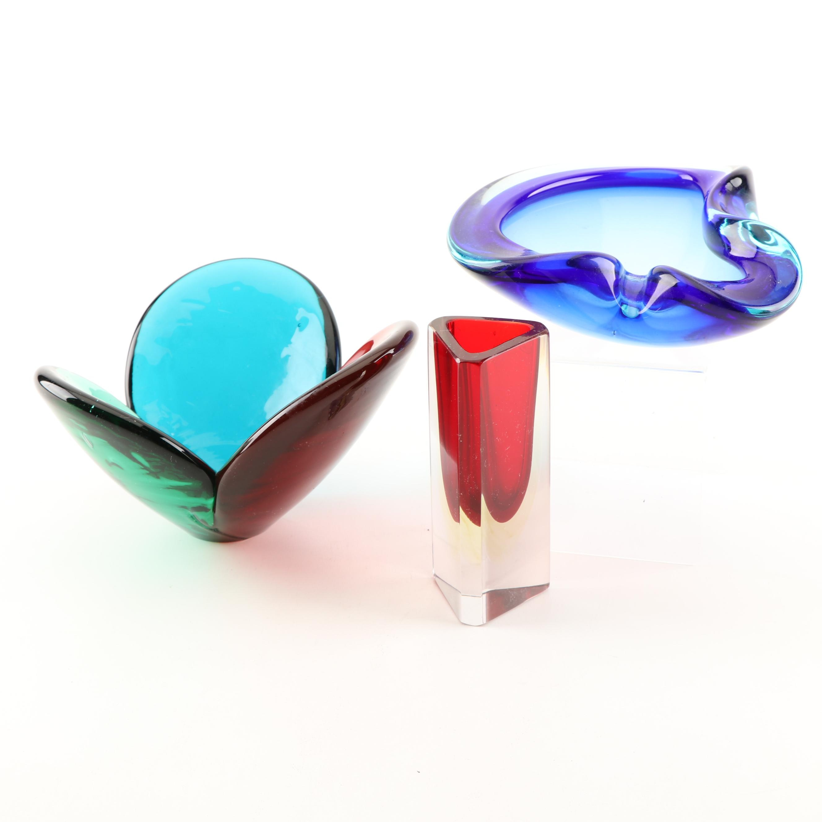 Art Glass Bowls and Bud Vase, Contemporary