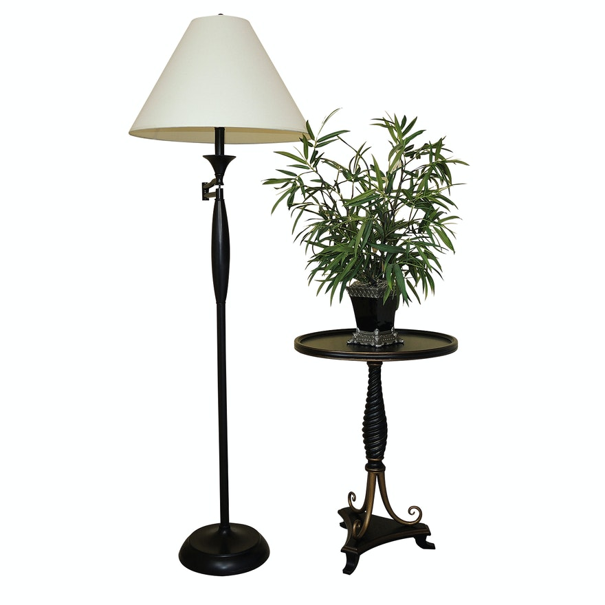 Contemporary Swing Arm Floor Lamp And Bombay Co End Table
