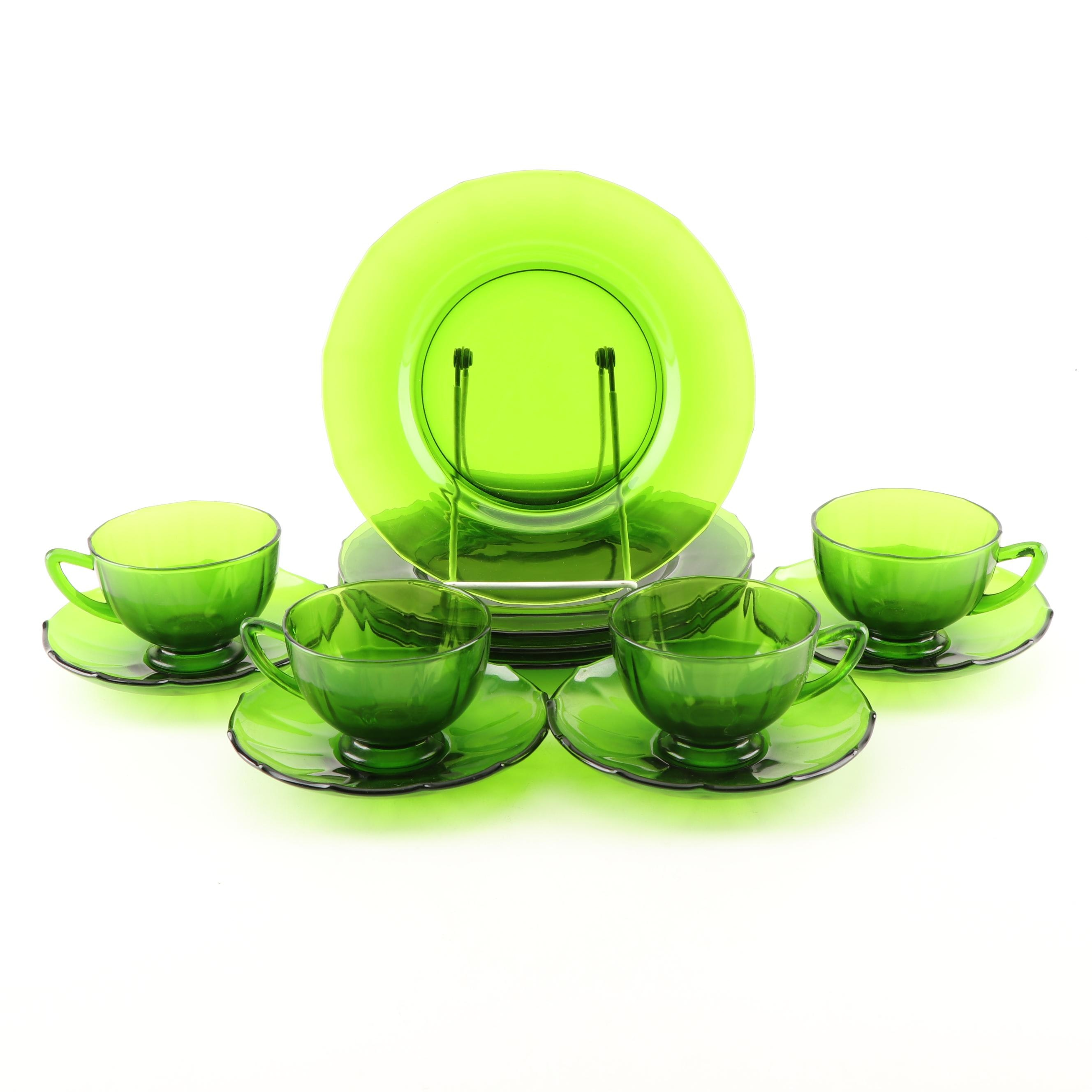 Emerald Glass Teacups, Saucers and Dessert Plates