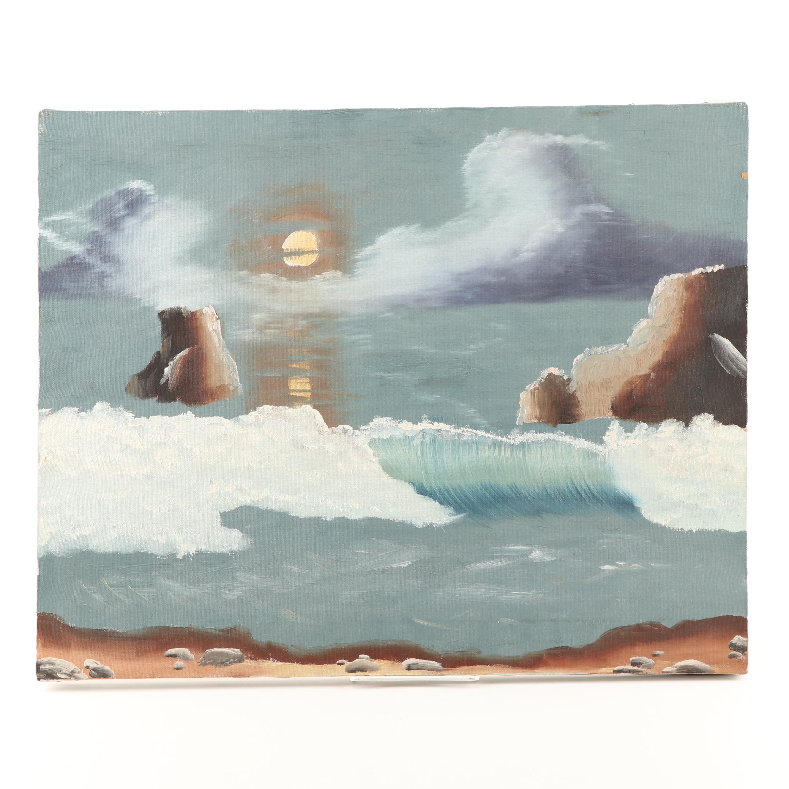 Late 20th Century Acrylic Seascape Painting