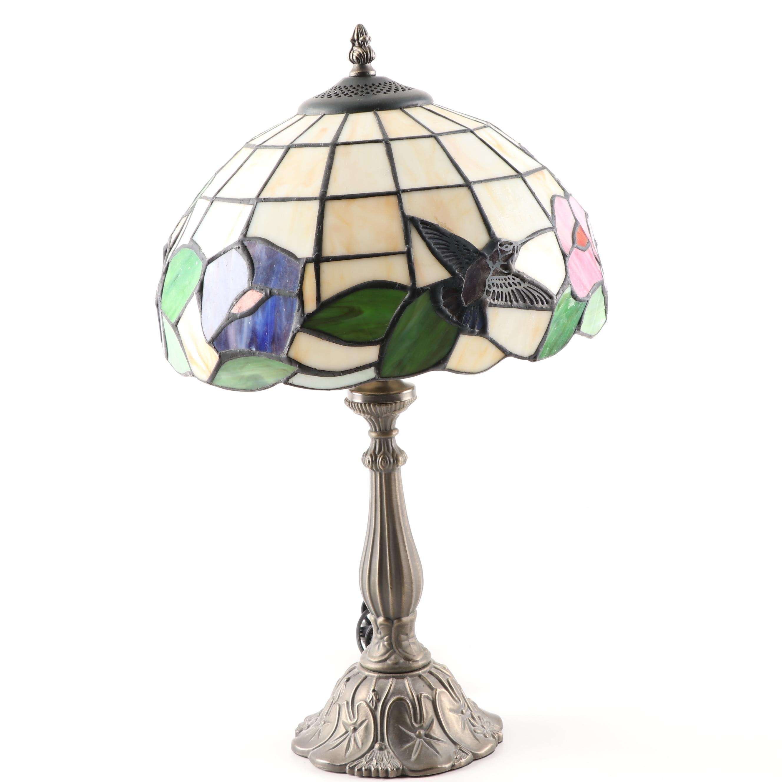 Cast Metal Table Lamp with SLag and Stained Glass Shade, Contemporary