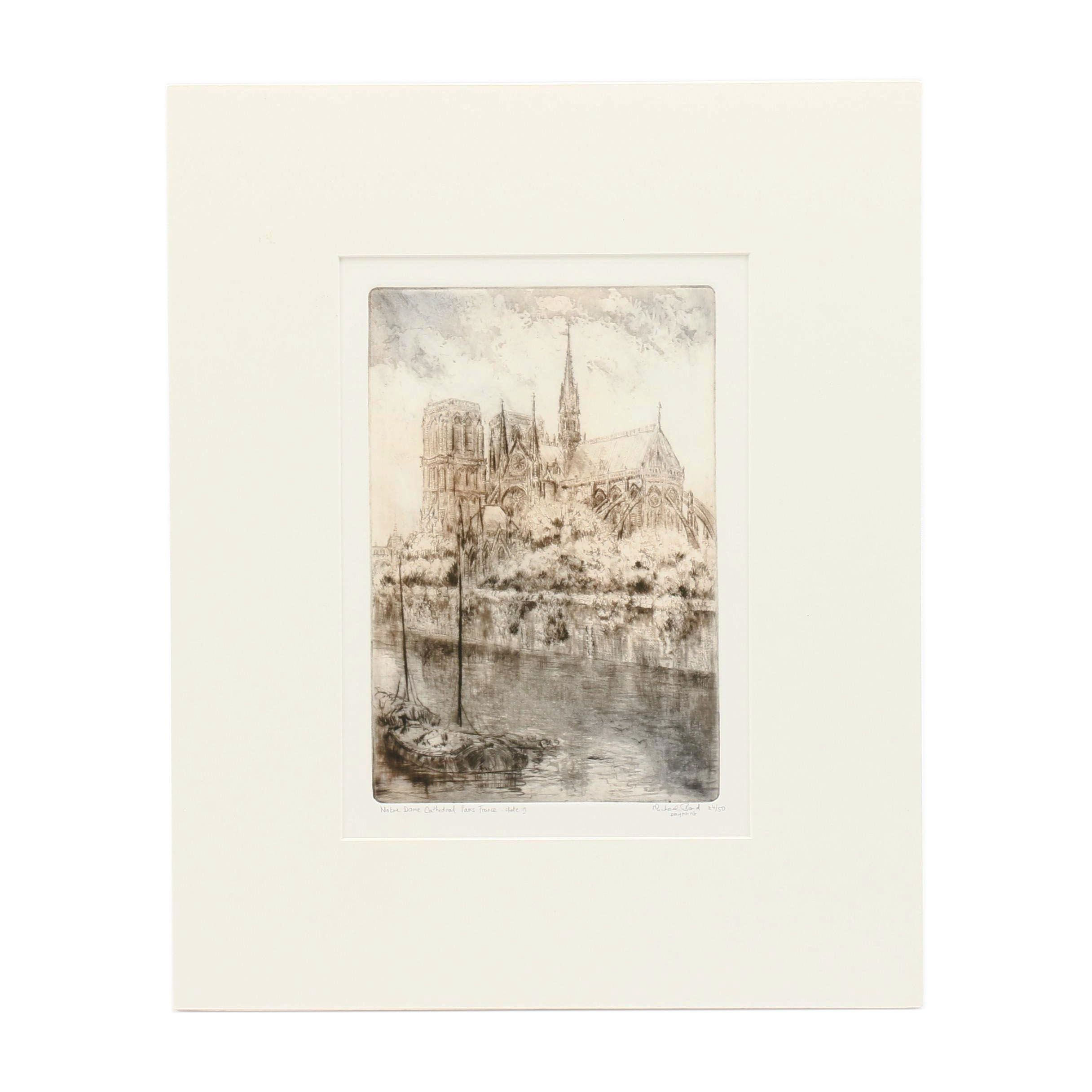 "Michael Band Drypoint ""Notre Dame Cathedral Paris France- Slate 17"""