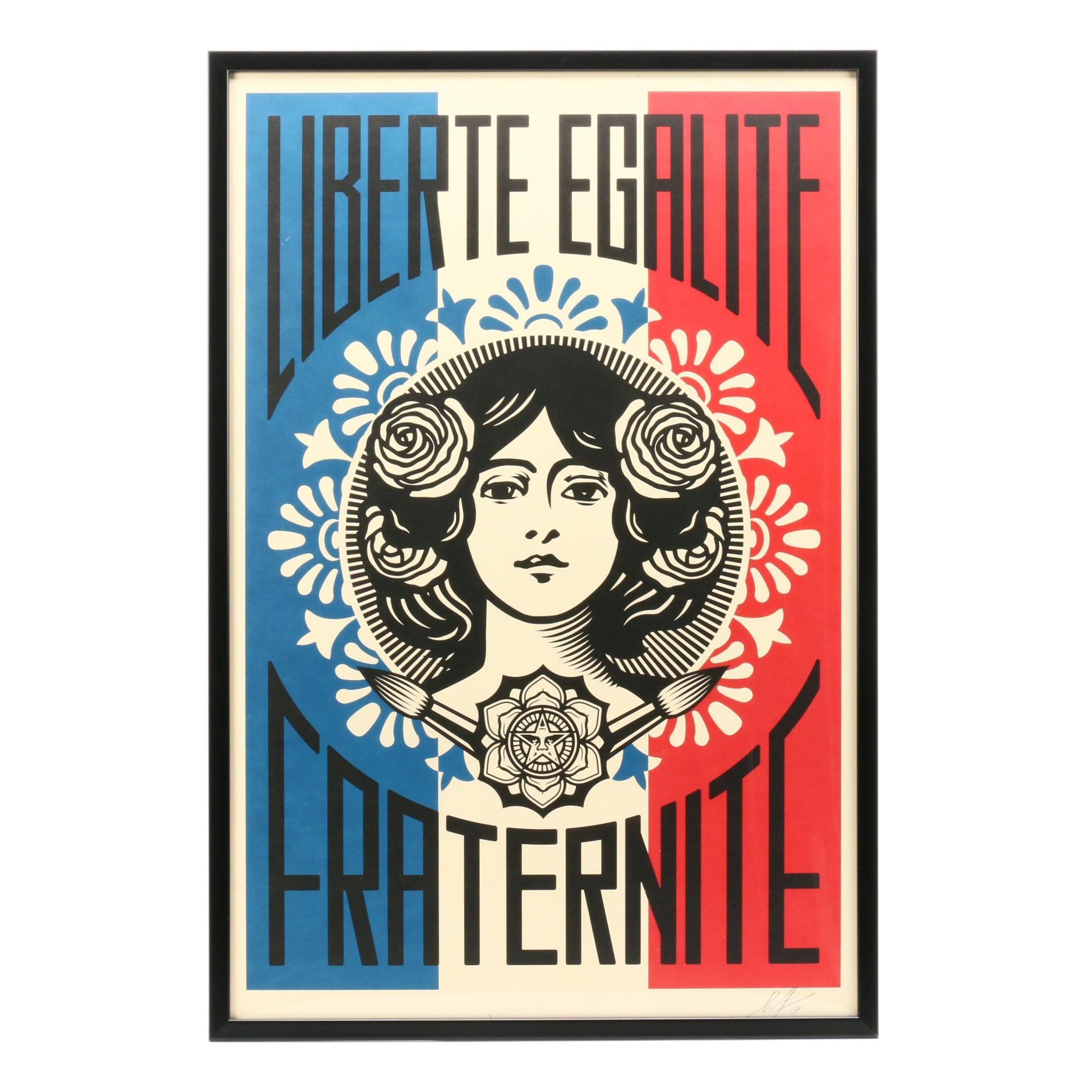 """Shepard Fairey Offset Print """"Liberté, Egalité, Fraternité"""""""
