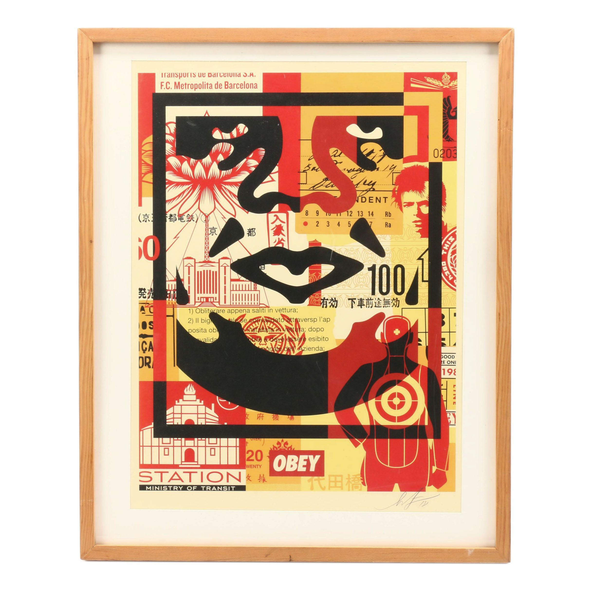 "Shepard Fairey Offset Print ""Obey Face Collage"""