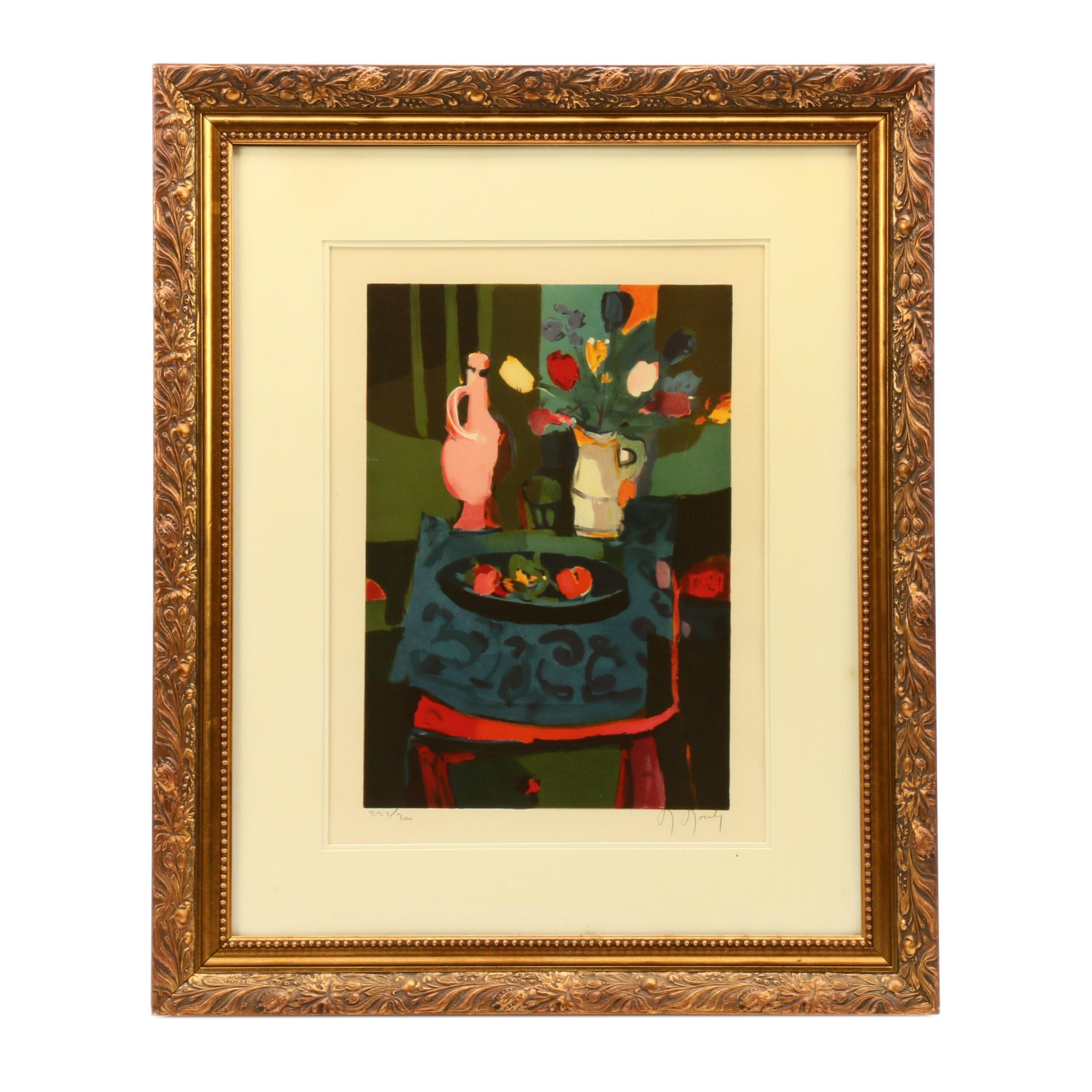 """Marcel Mouly Color Lithograph """"Bouquet of Tulips"""""""