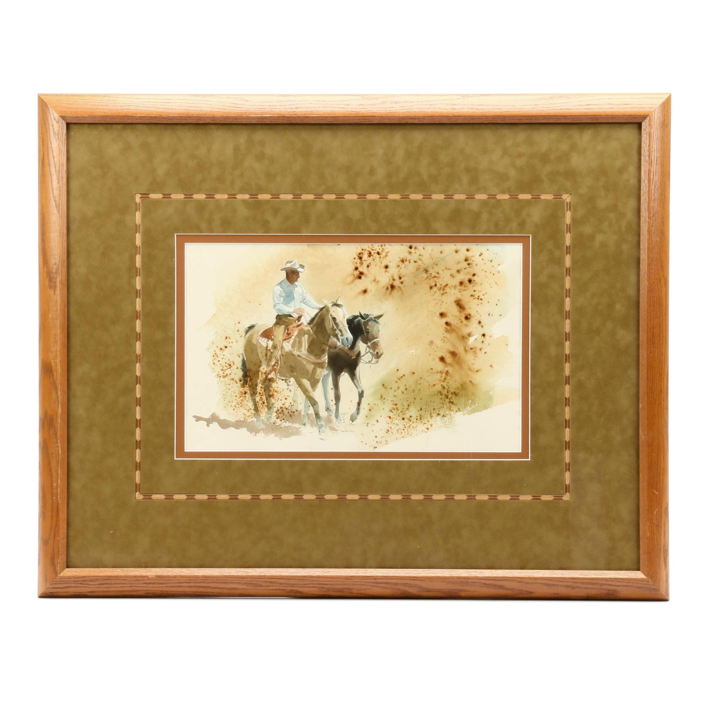 Phil Tyler Watercolor Painting of Cowboy on Horseback