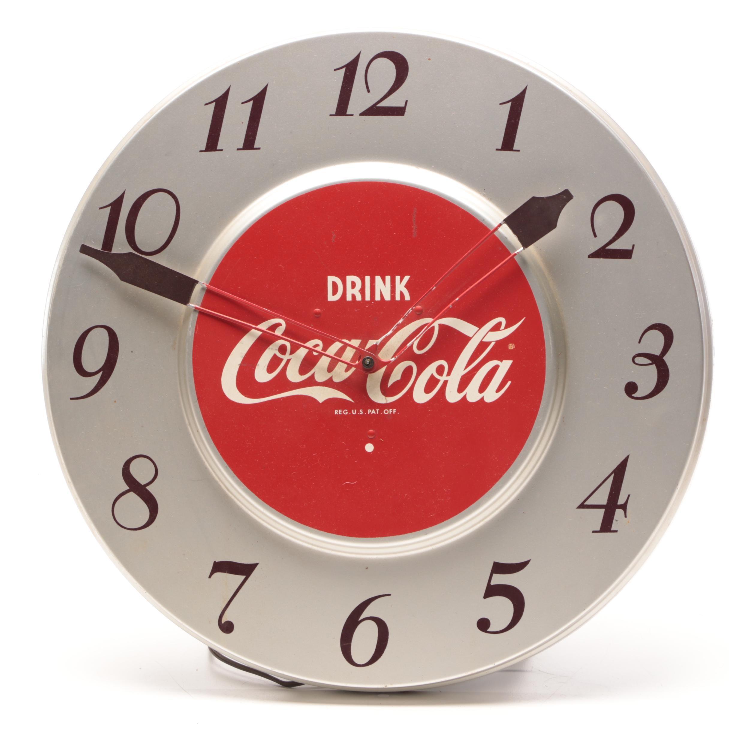 """""""Drink Coca-Cola"""" Wall Mount Advertising Metal Circular Clock, Mid-Century"""