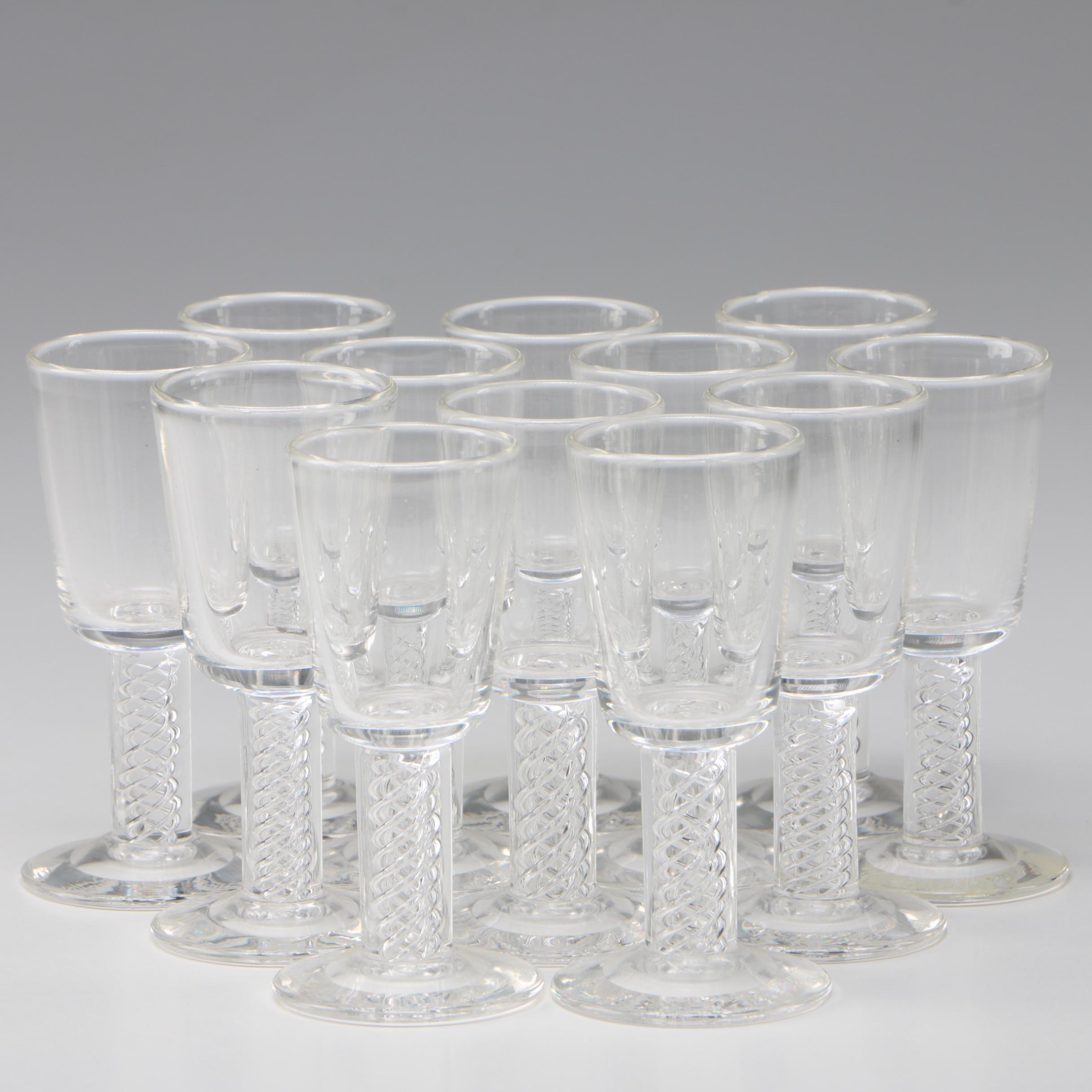 "Steuben Art Glass ""Air Twist"" Cordials Designed by George Thompson, Circa 1953"