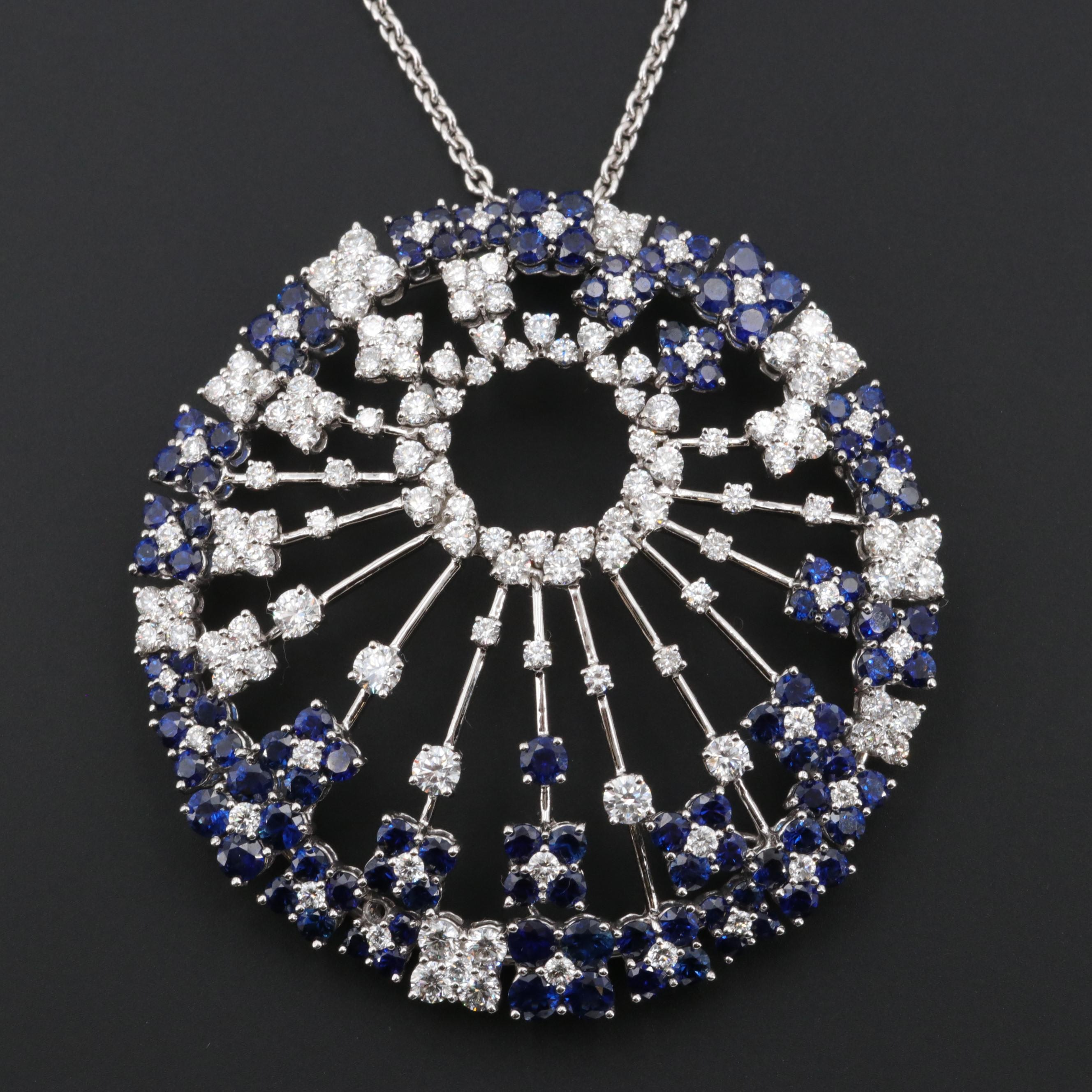 18K White Gold 4.77 CTW Diamond and 7.16 CTW Blue Sapphire Pendant Necklace