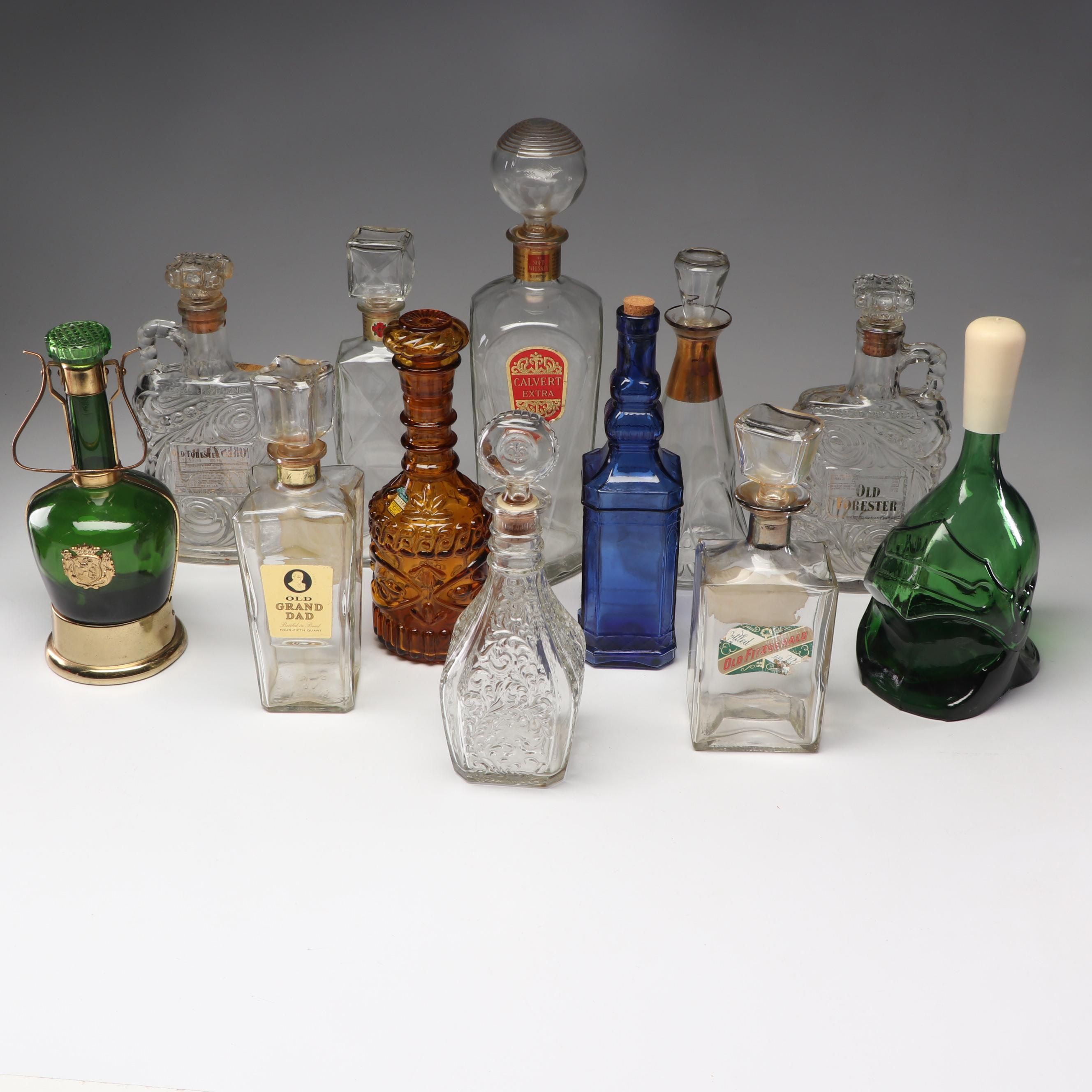 Vintage Decanters and Liquor Bottles Including Green Decanter with Music Box