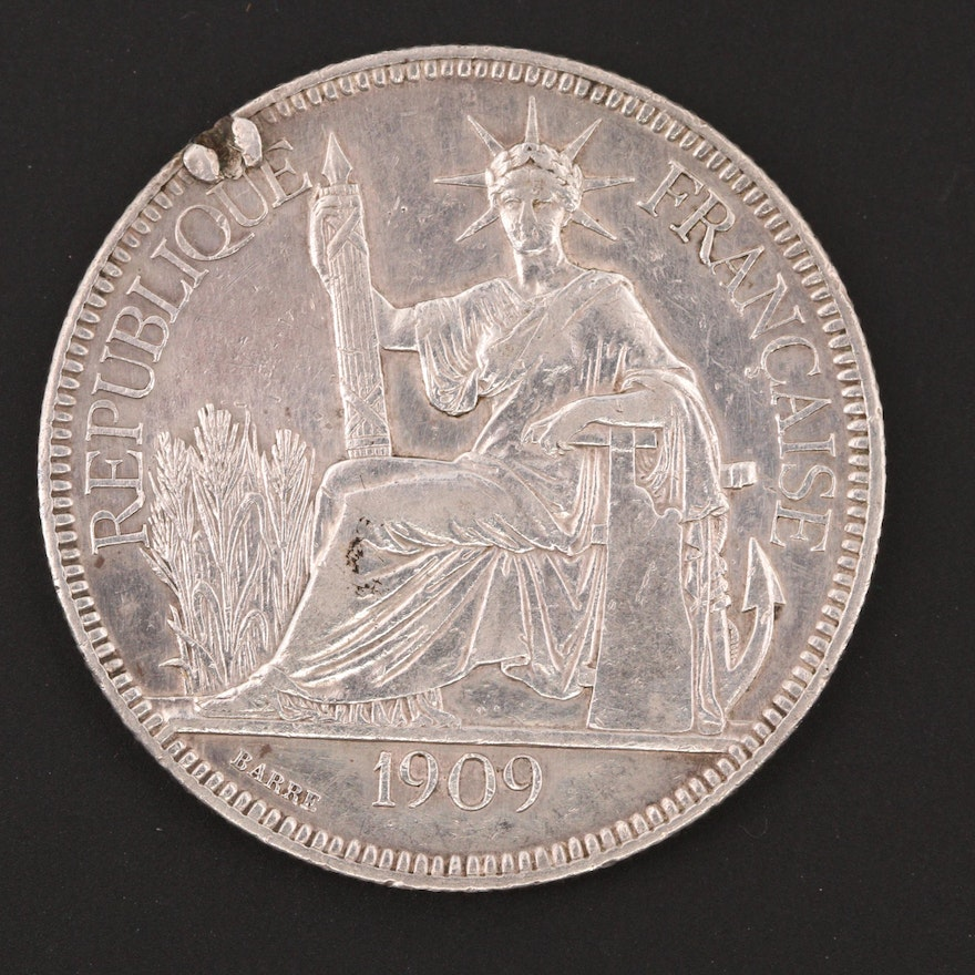 B&C Auto Sales >> 1909 A French Indo China One Piastre Silver Trade Coin | EBTH