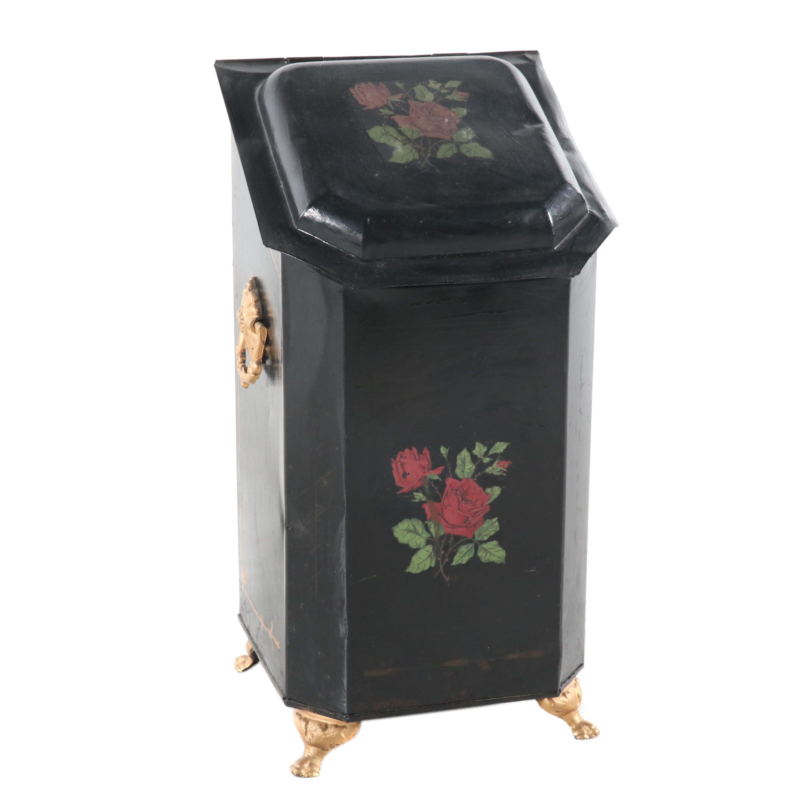 American Country Style Black Coal Scuttle with Floral Transfer Decoration