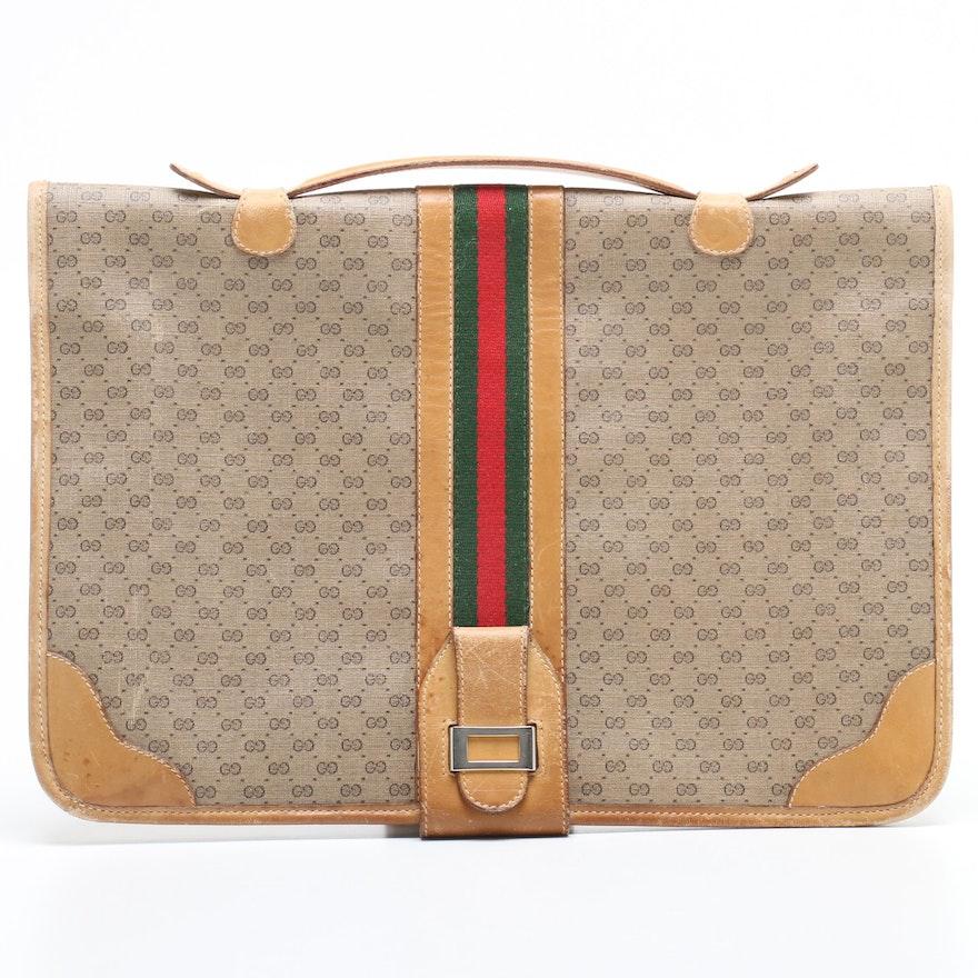 Gucci GG Supreme Canvas Web Stripe Briefcase