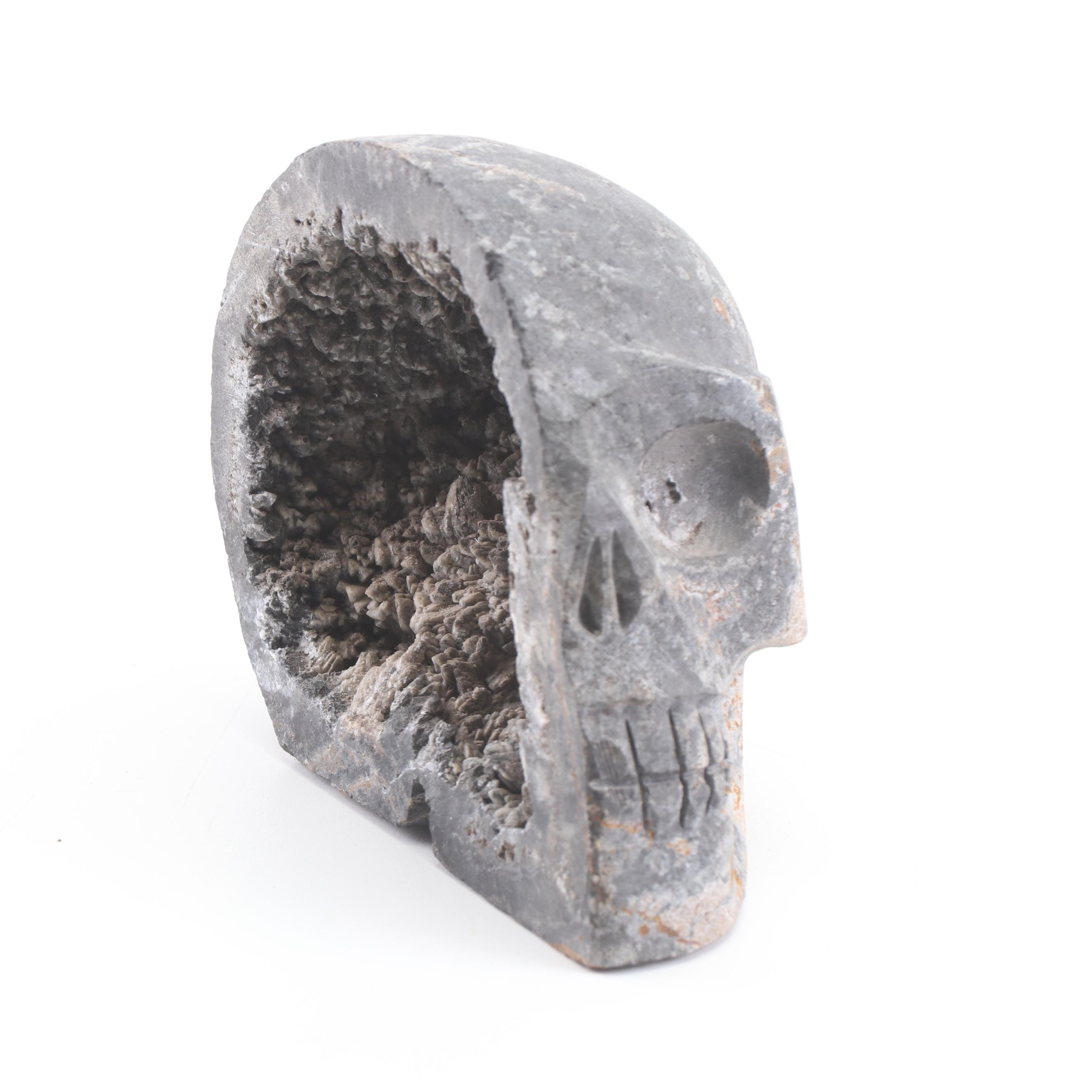 Carved Smoky Quartz Geode Skull