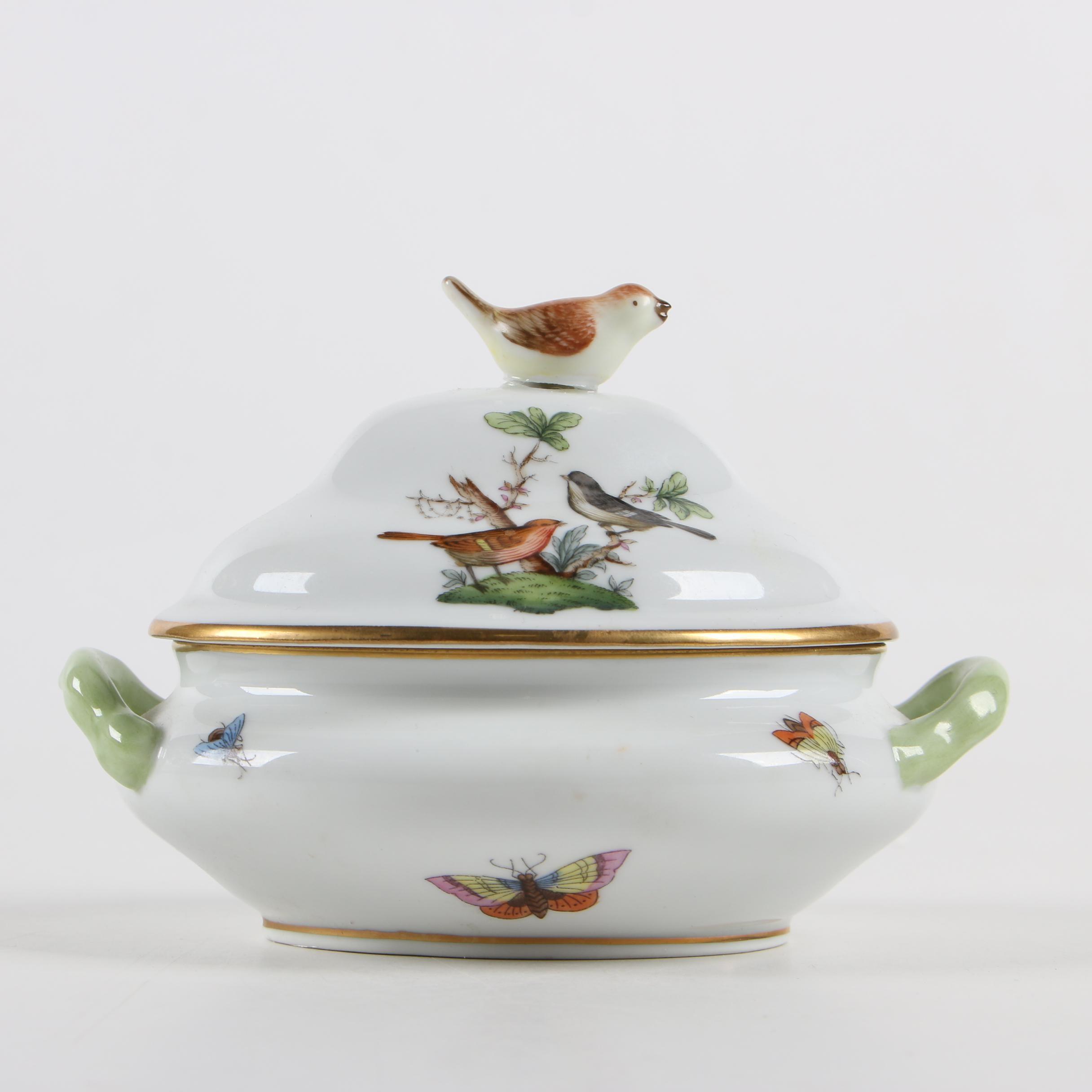 "Herend ""Rothschild Bird"" Porcelain Miniature Tureen"